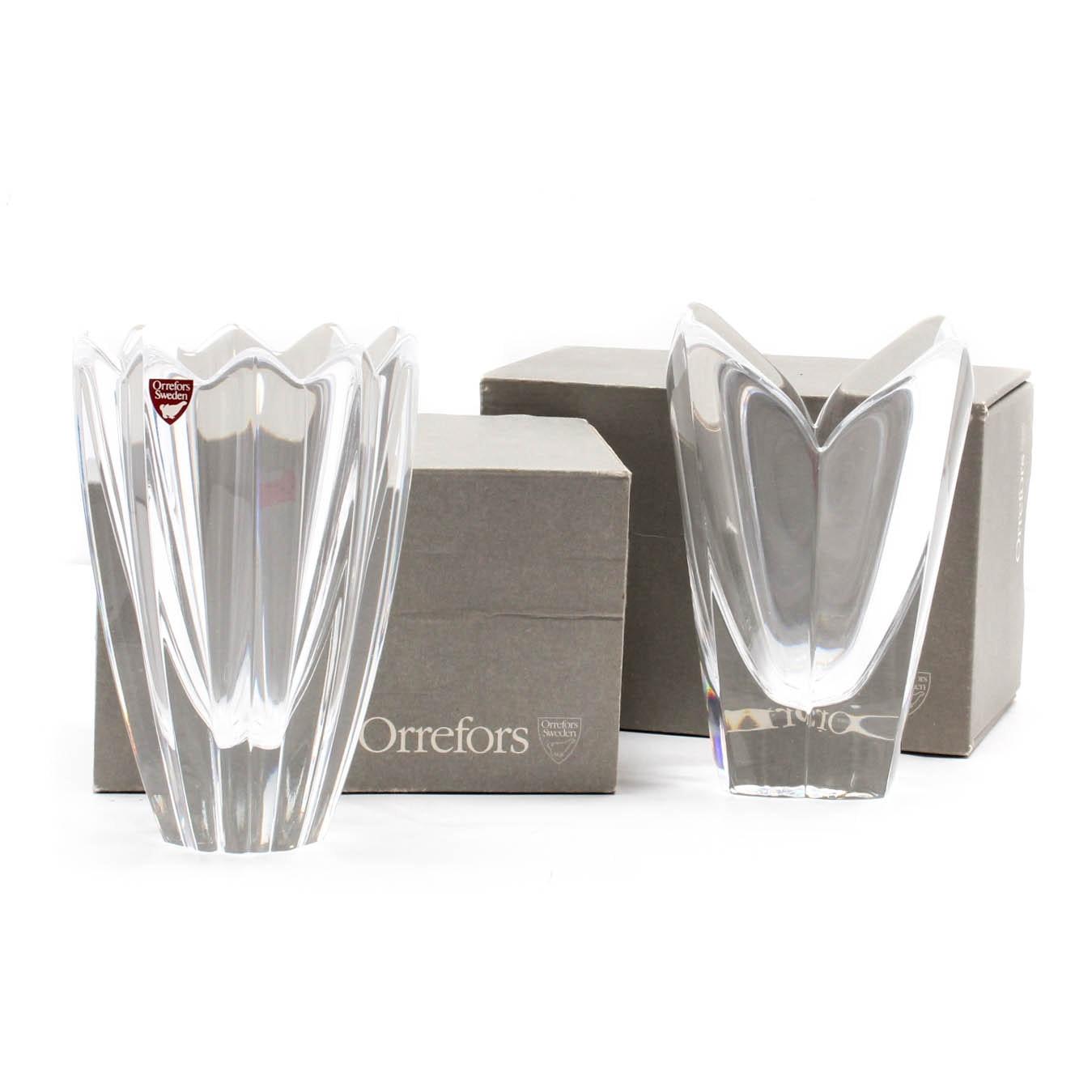 "Orrefors ""Lotus"" and ""Fleu"" Crystal Vases"