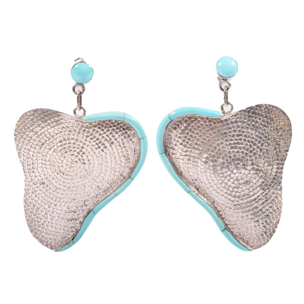 Freeform Sterling Silver Earrings with Turquoise Frames