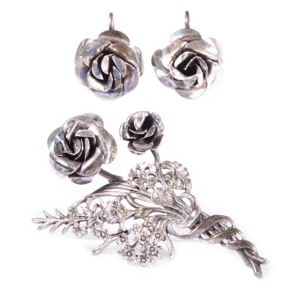 Sterling Silver Rose Brooch and Screwback Earrings