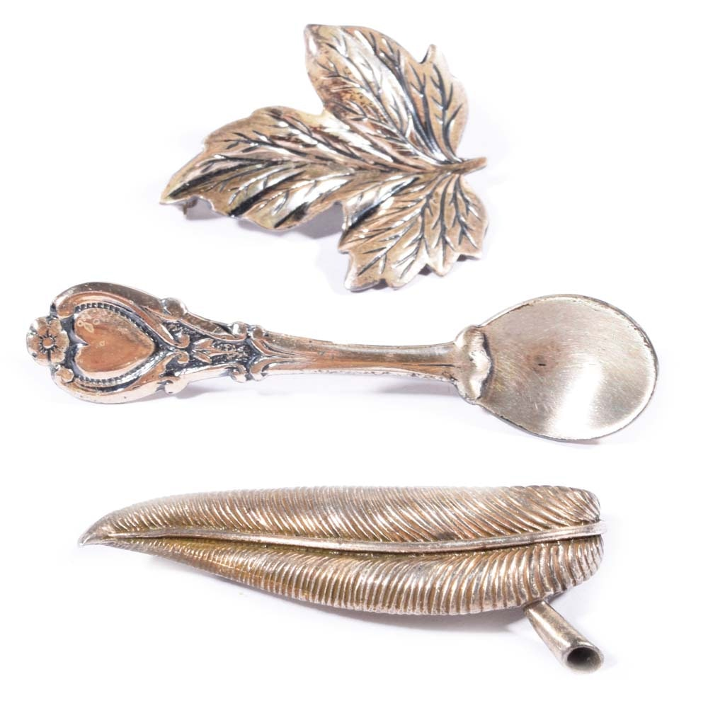 Sterling Silver Brooches Featuring DaneCraft and JewelArt