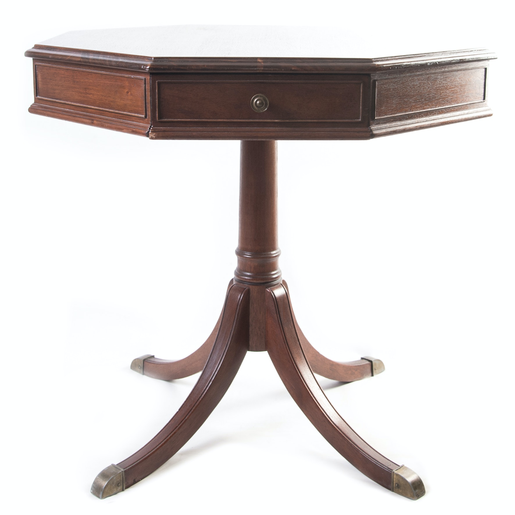 Vintage Mahogany Octagonal Drum Table by Zangerle Tables Chicago