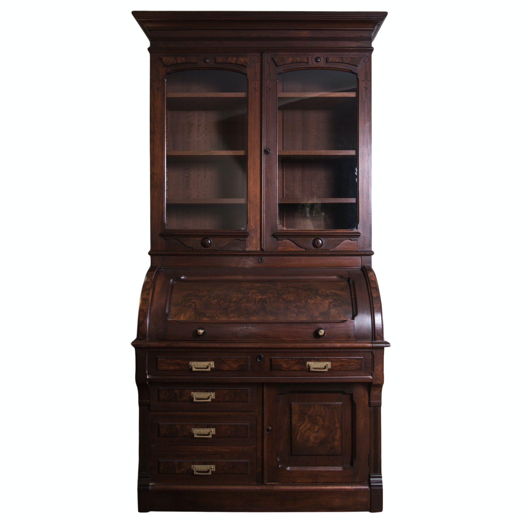 Antique Victorian Renaissance Revival Walnut Cylinder Secretary Desk