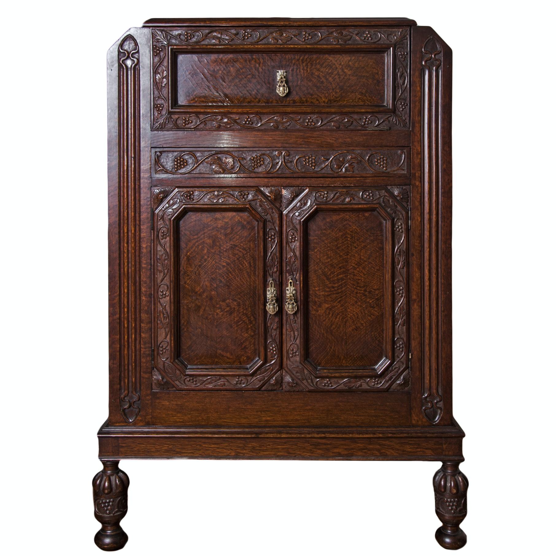 Renaissance Revival Style Oak Bar Cabinet