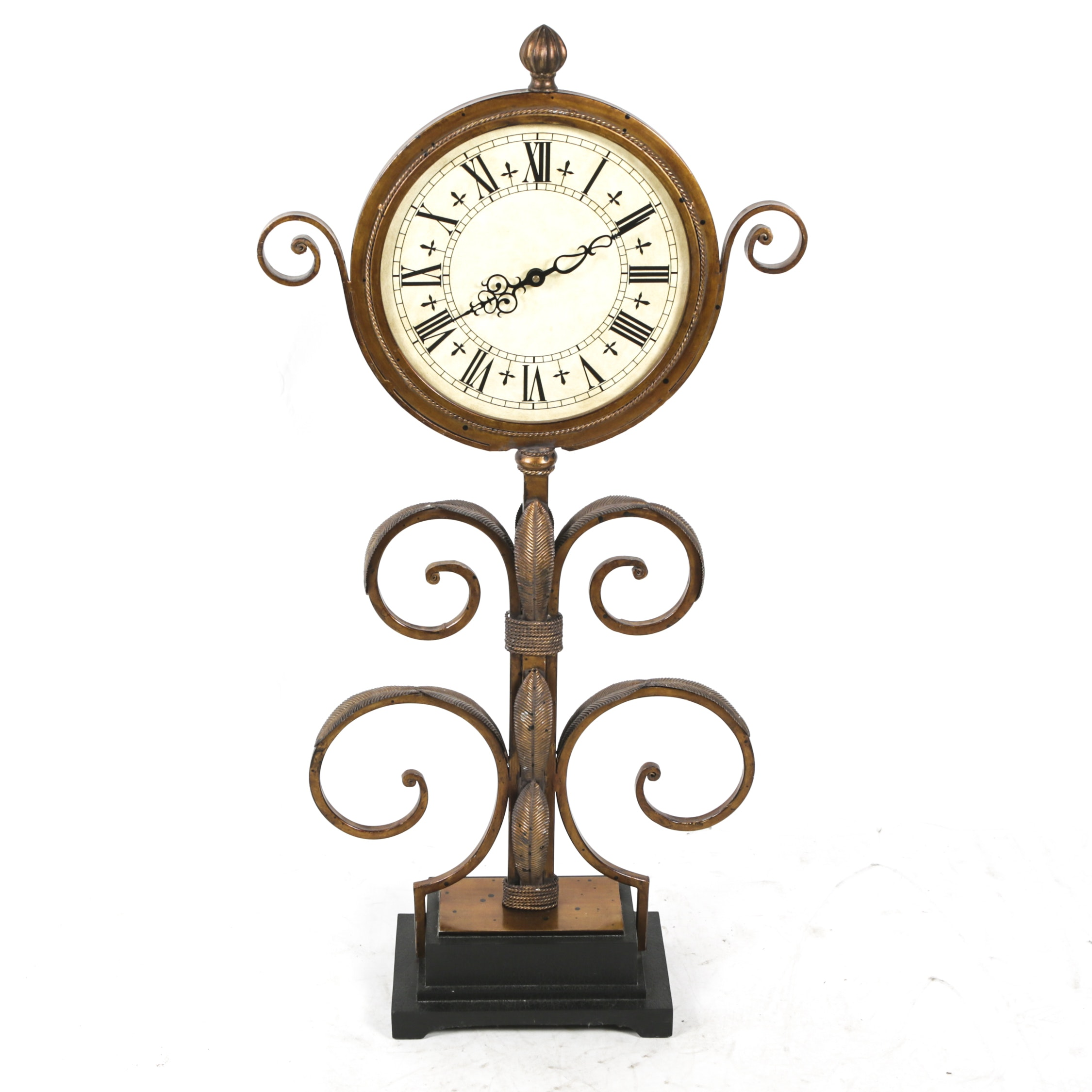 Contemporary Scrolled Metal Floor Clock