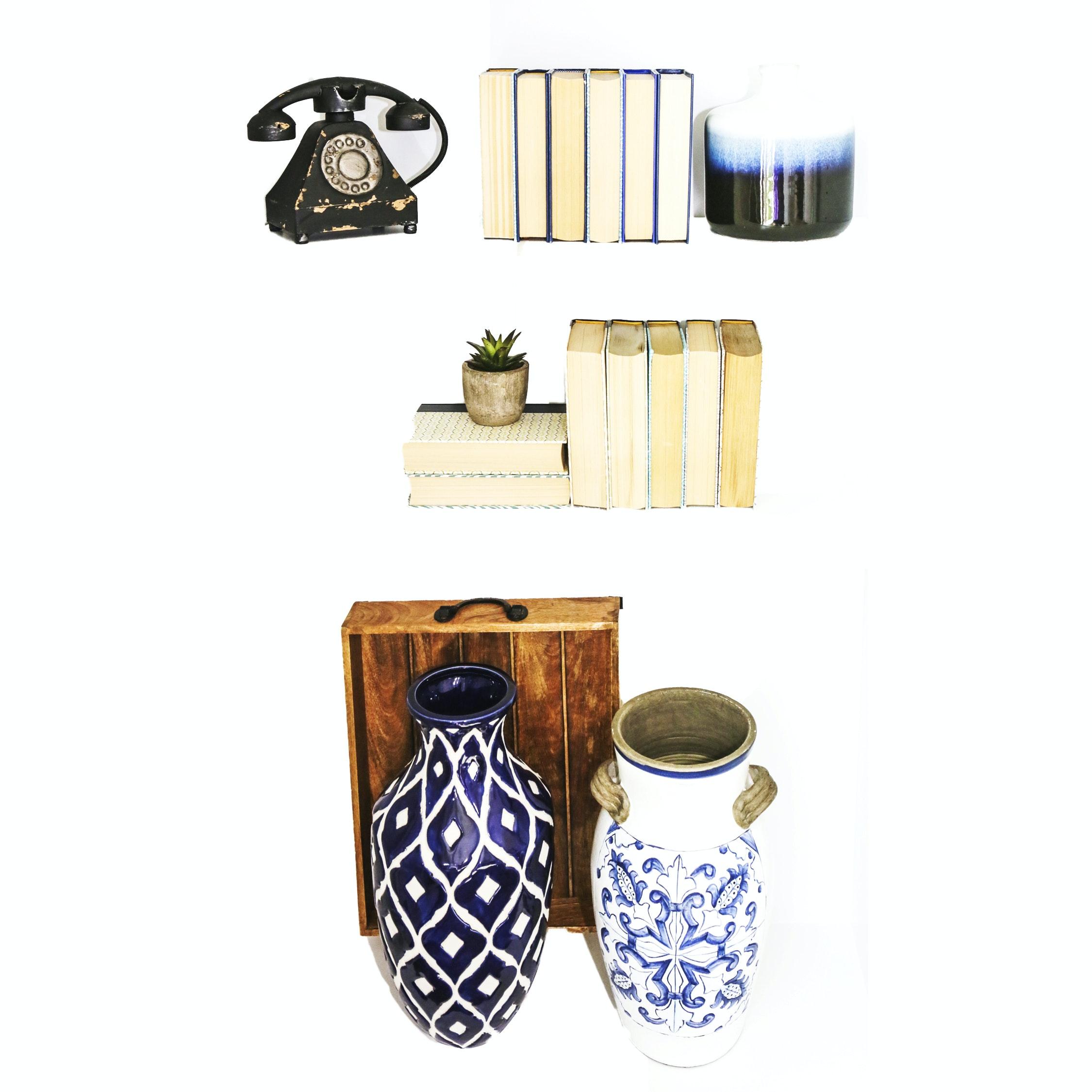 Ceramic Vases, Decorative Books, and Other Decor