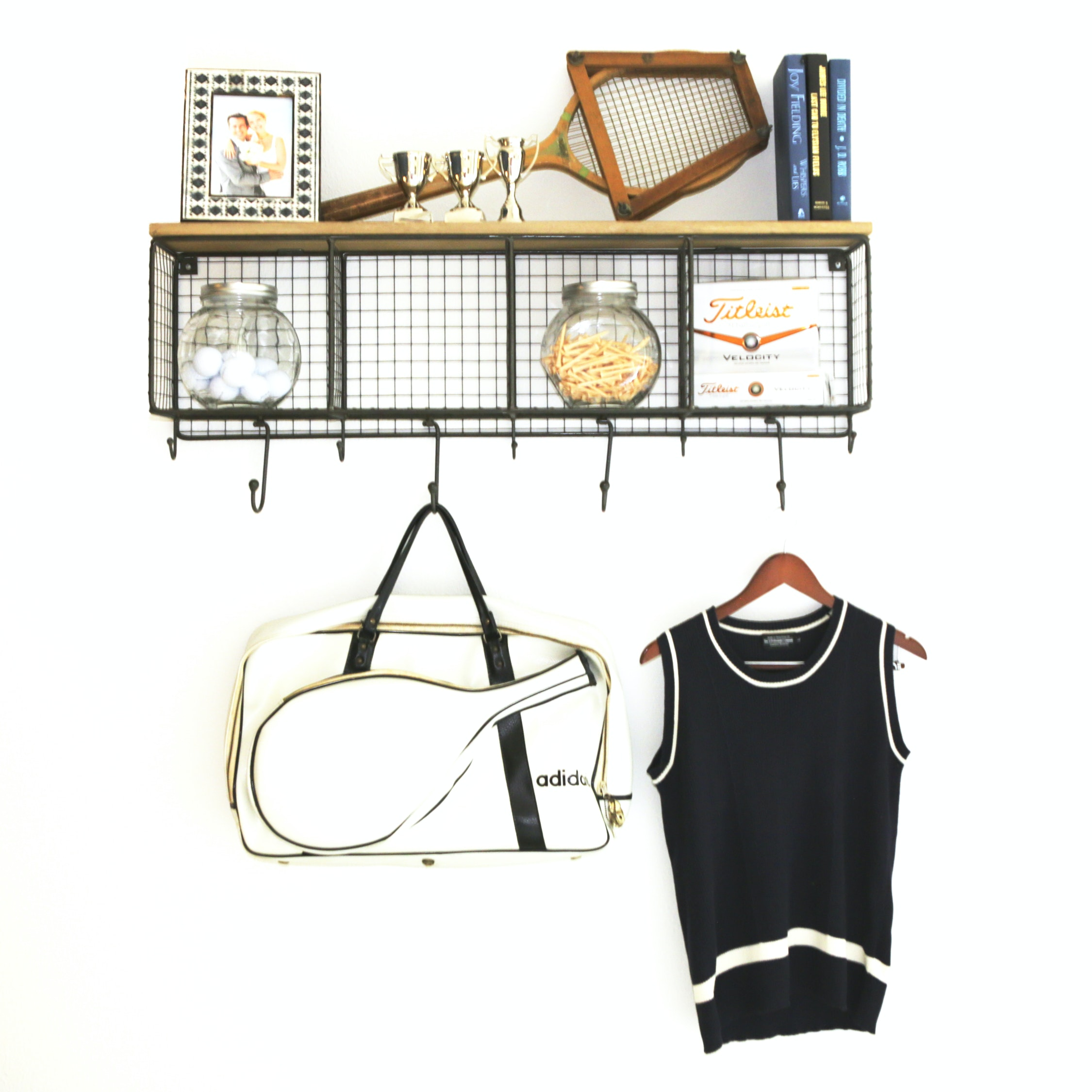 Decorative Wire Wall Shelf, Vintage Adidas Racquetball Bag, and Other Decor