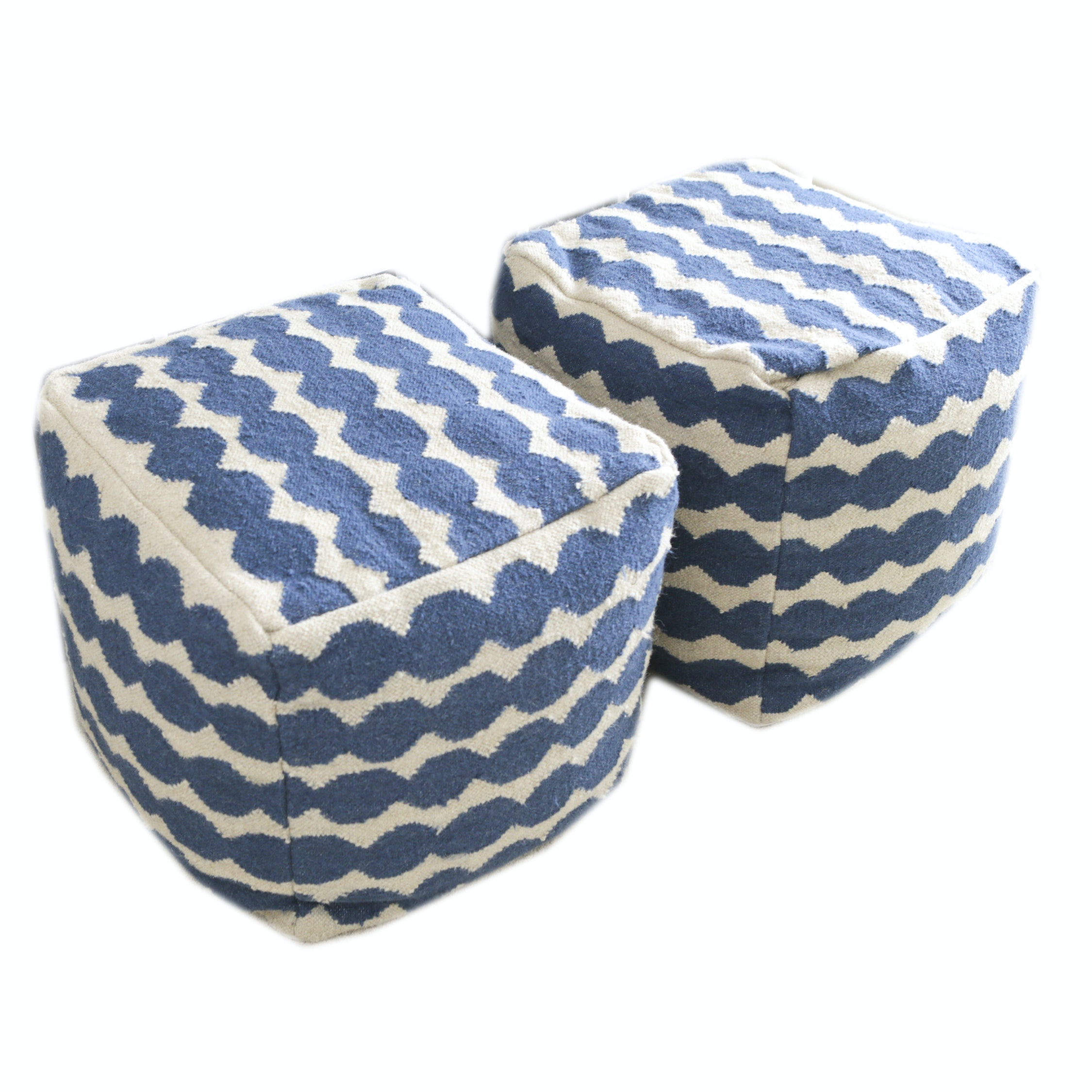 Blue and White Fabric Cube Poufs