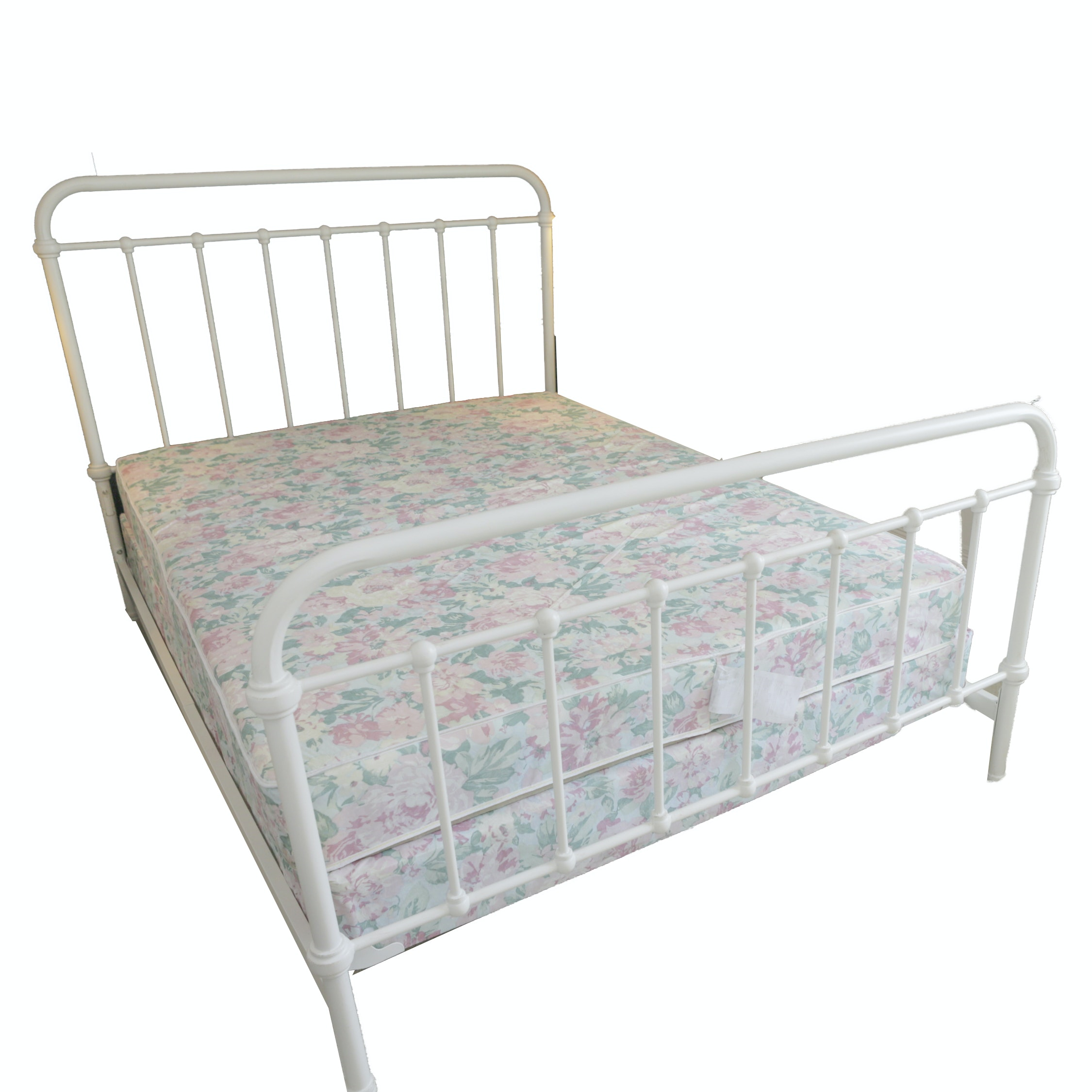 White Metal Queen Size Bed Frame