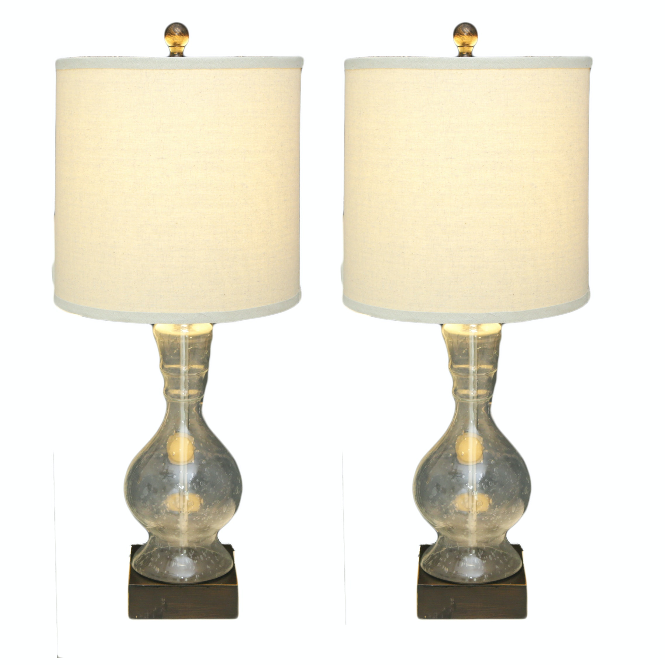 Pair of Contemporary Glass and Wood Table Lamps
