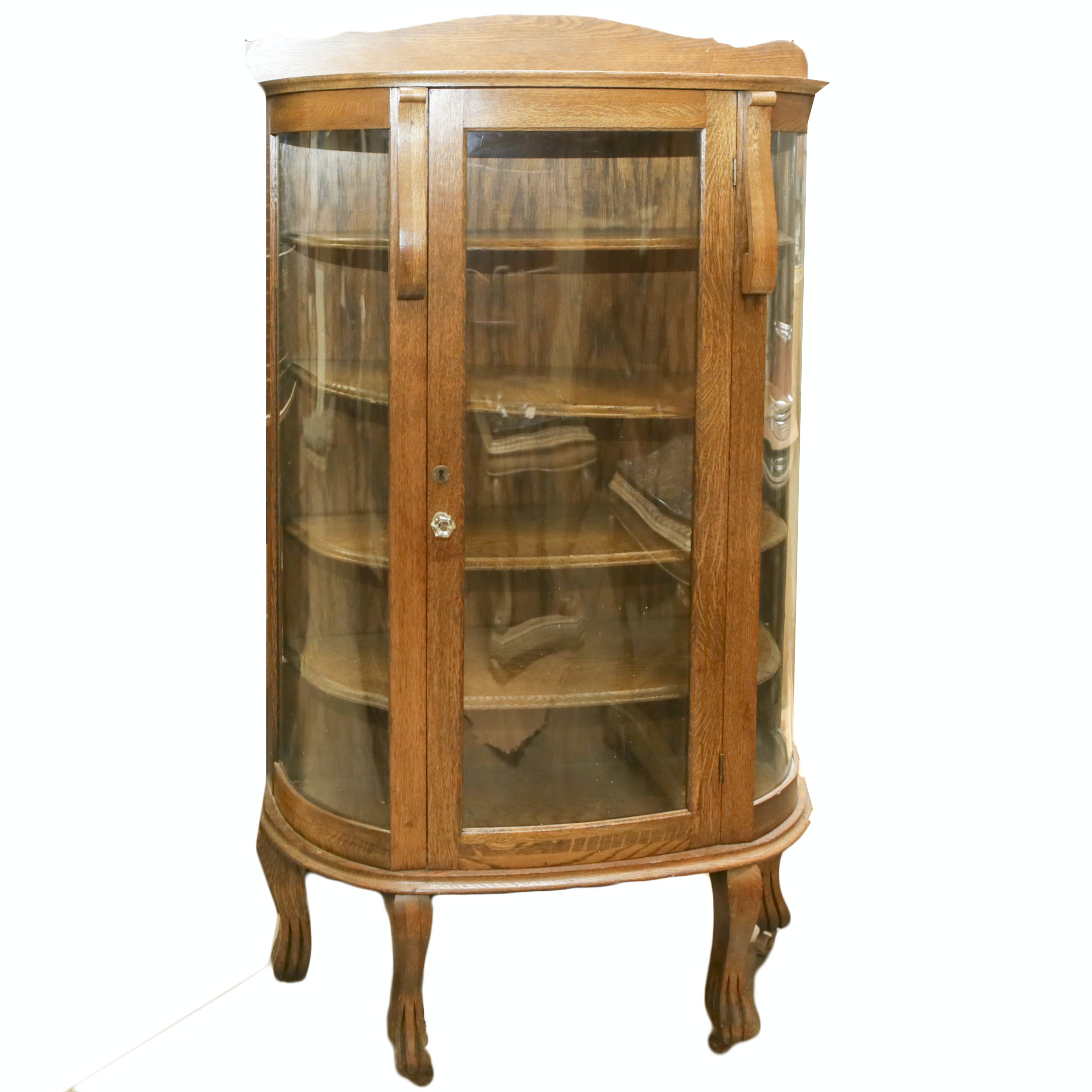 Vintage Oak and Glass Curio Cabinet
