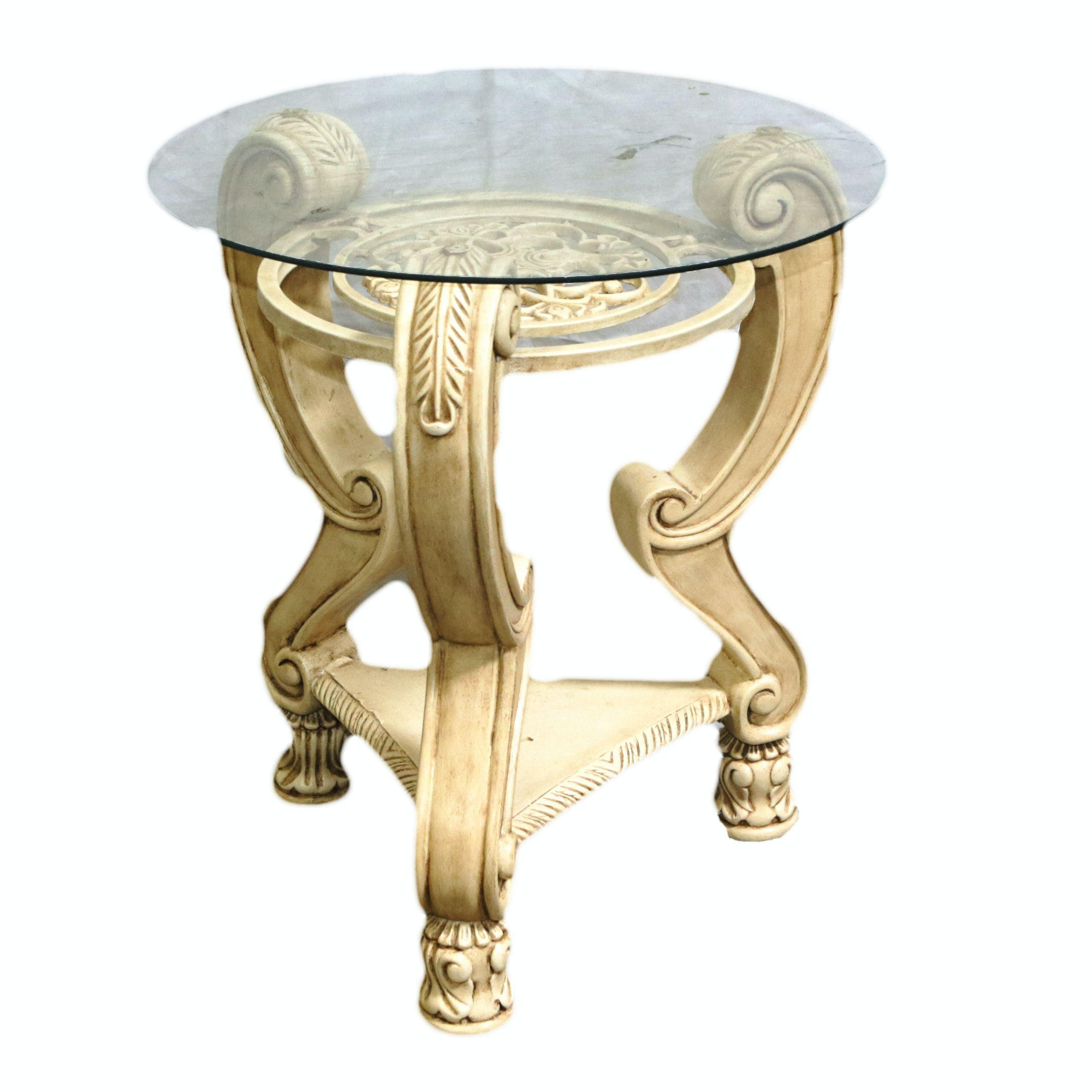 Neoclassical Style Glass Top Accent Table