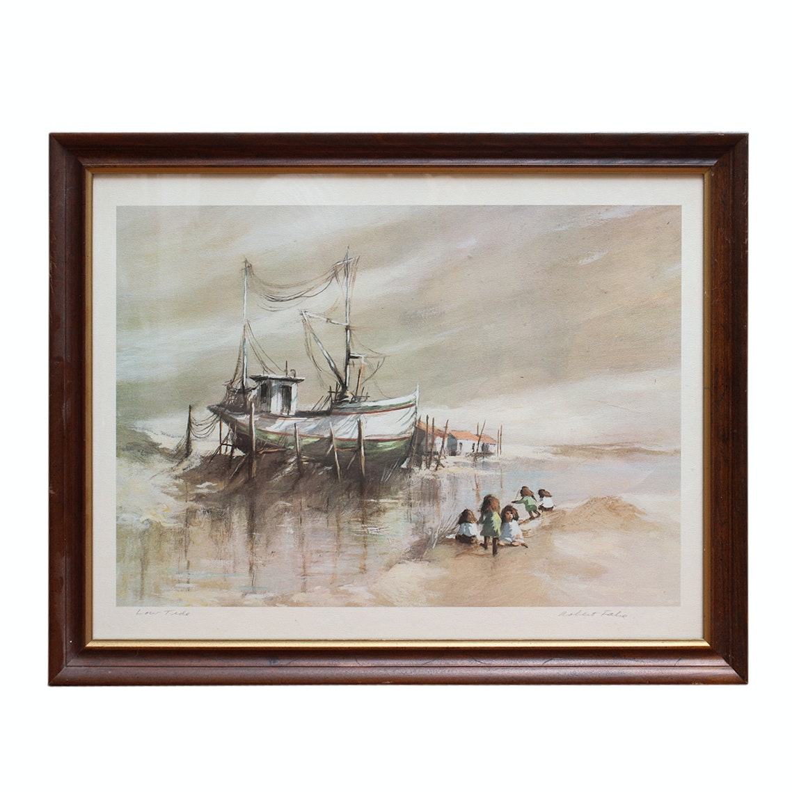 "Signed ""Low Tide"" Robert Fabe Offset Lithograph"