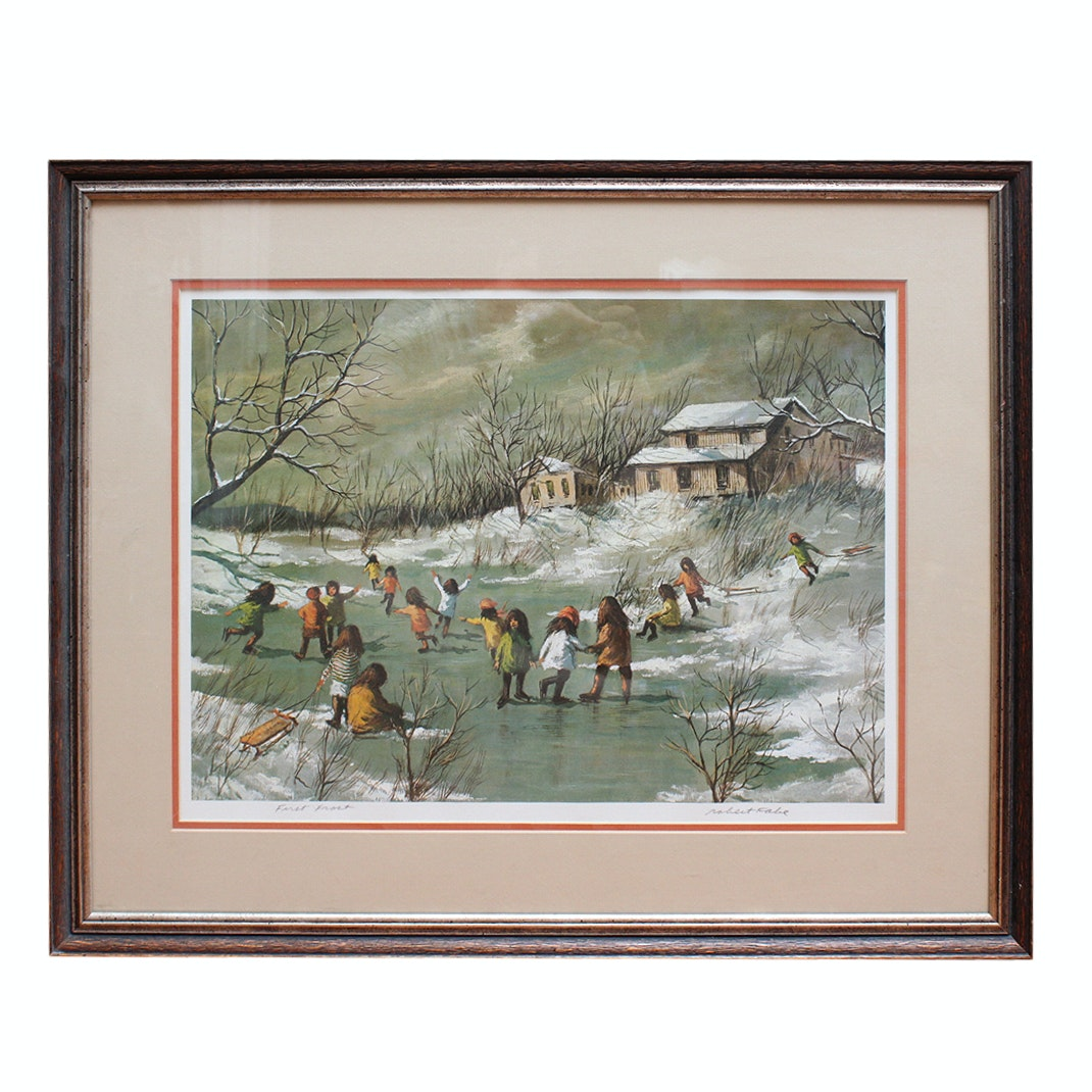 """Signed Robert Fabe """"First Frost"""" Offset Lithograph"""