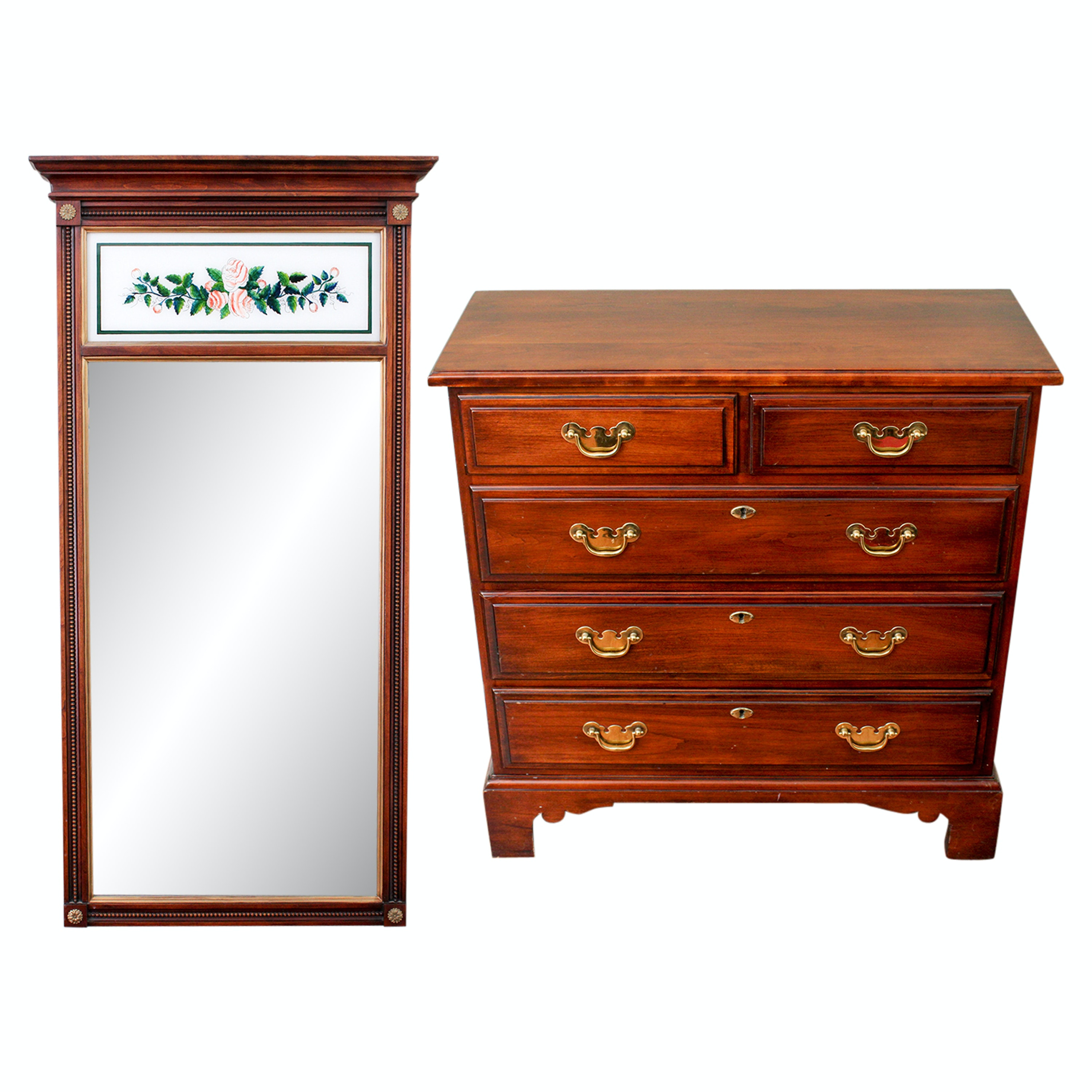 Statton Federal Style Chest of Drawers and Reverse Painted Wall Mirror