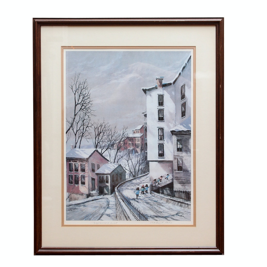 """Signed Robert Fabe """"Sycamore Hill"""" Offset Lithograph"""