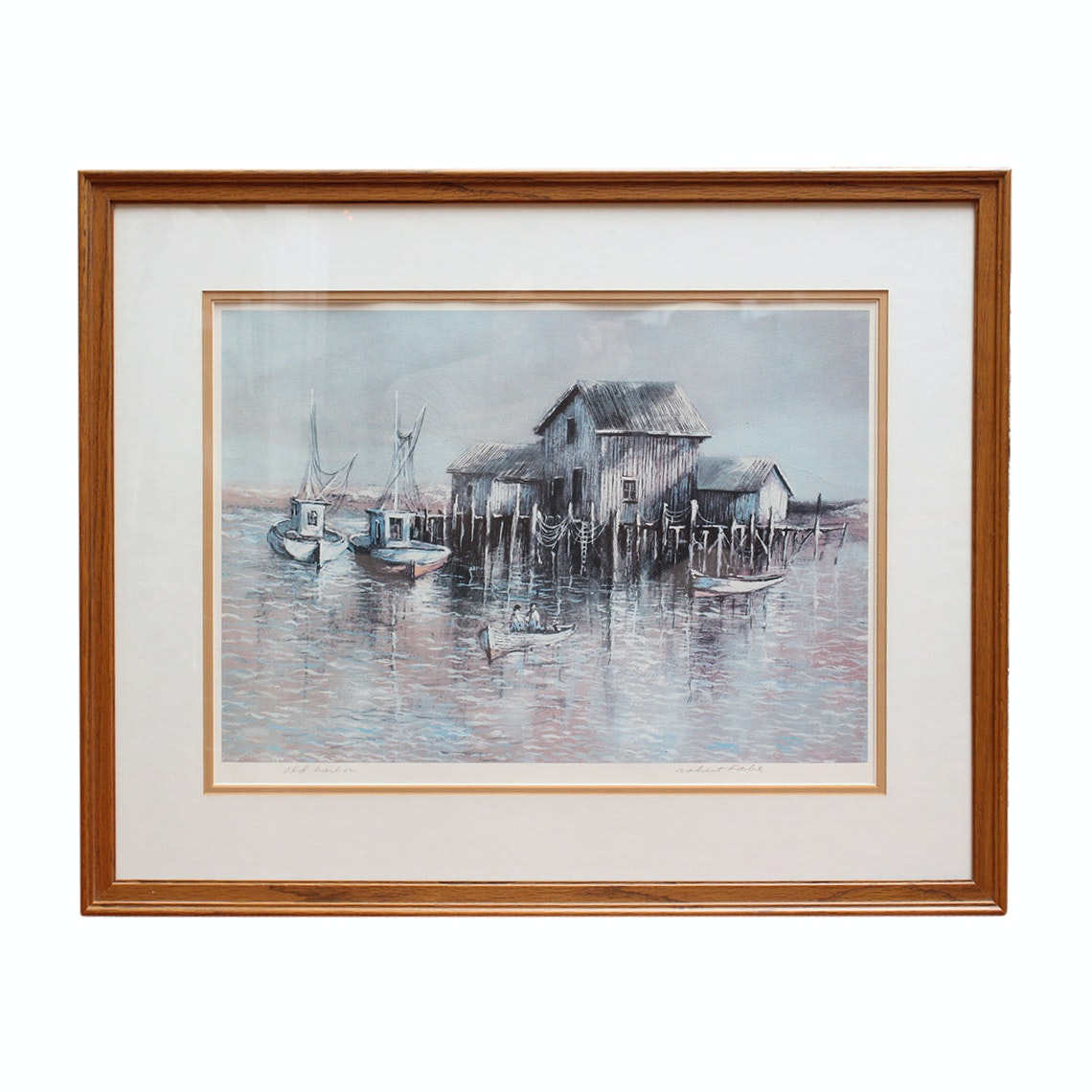 """Signed Robert Fabe """"Old Harbor"""" Offset Lithograph"""
