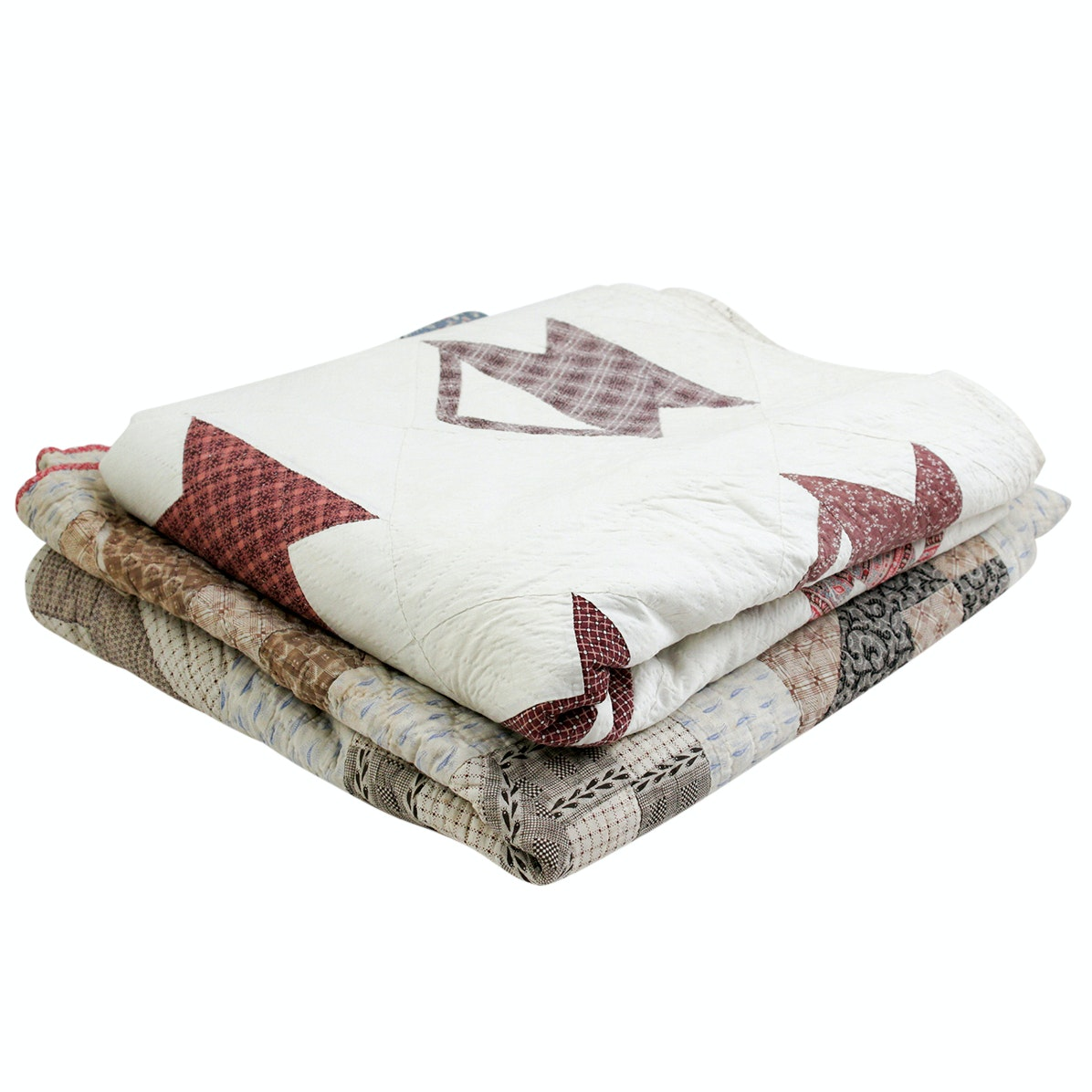 "Semi-Antique Handmade Quilts, ""Baskets"" and ""Jacob's Ladder Block Quilt"""
