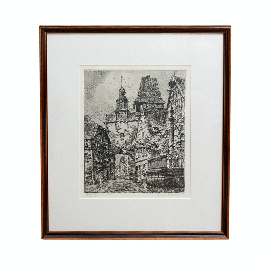 Signed Rothenburg, Germany Etching