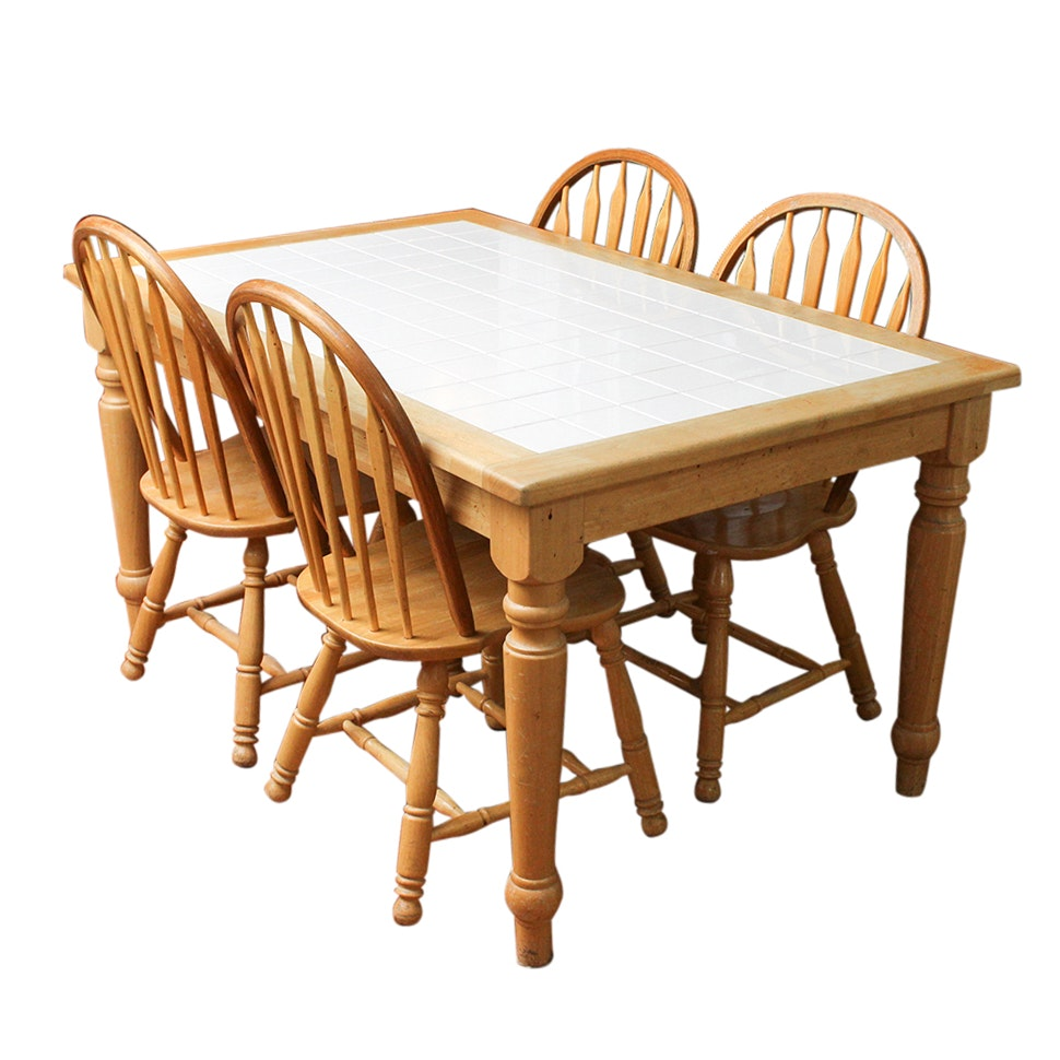 French Country Style Ceramic Tile Dining Table and Four Windsor Chairs