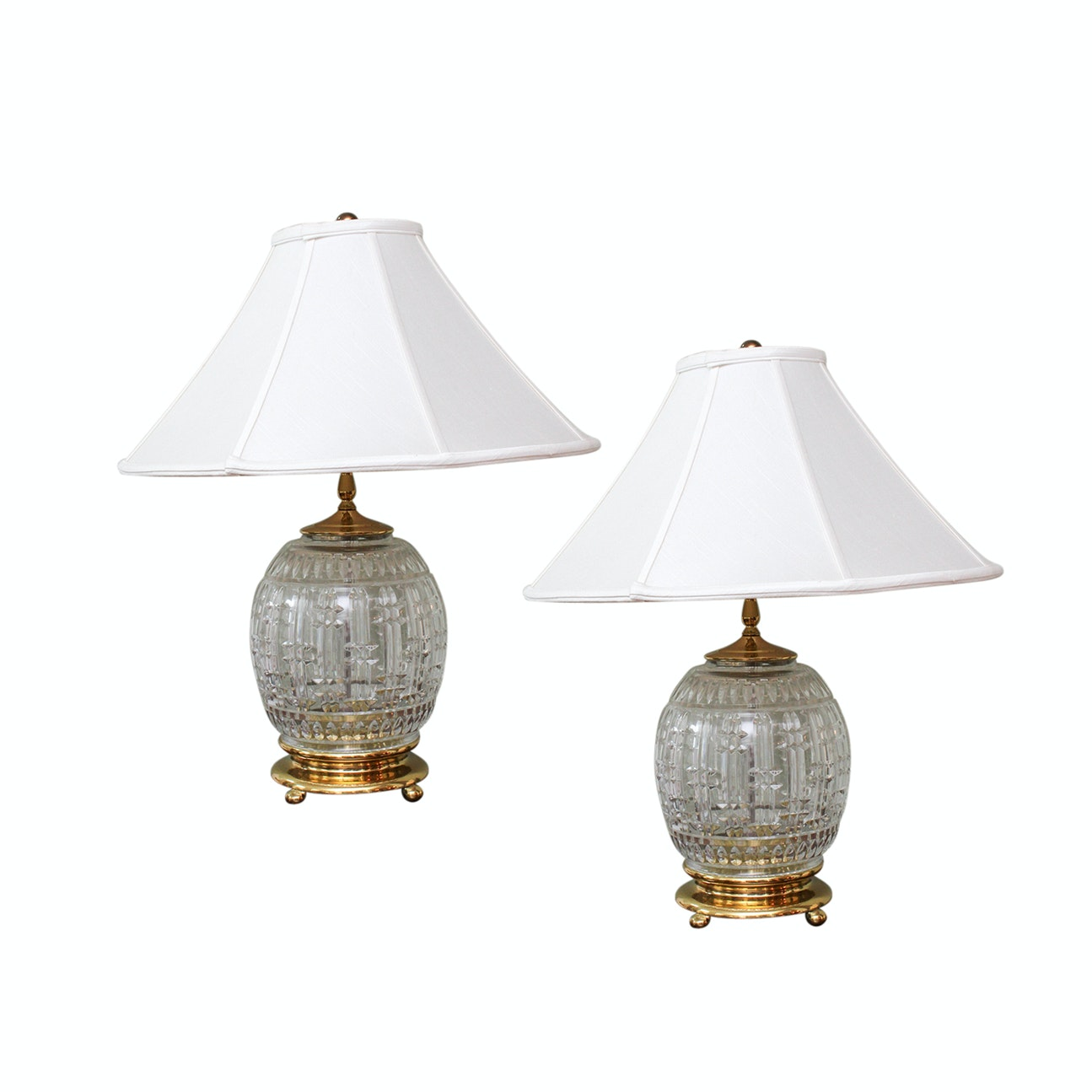 Waterford Crystal 3-Way Table Lamps with Fabric Pagoda Shades