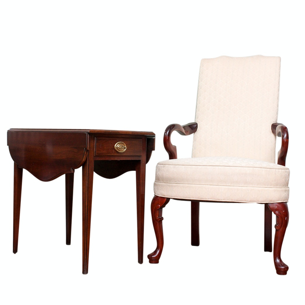 Laine Queen Anne Style Armchair and Centennial Drop-Leaf Side Table