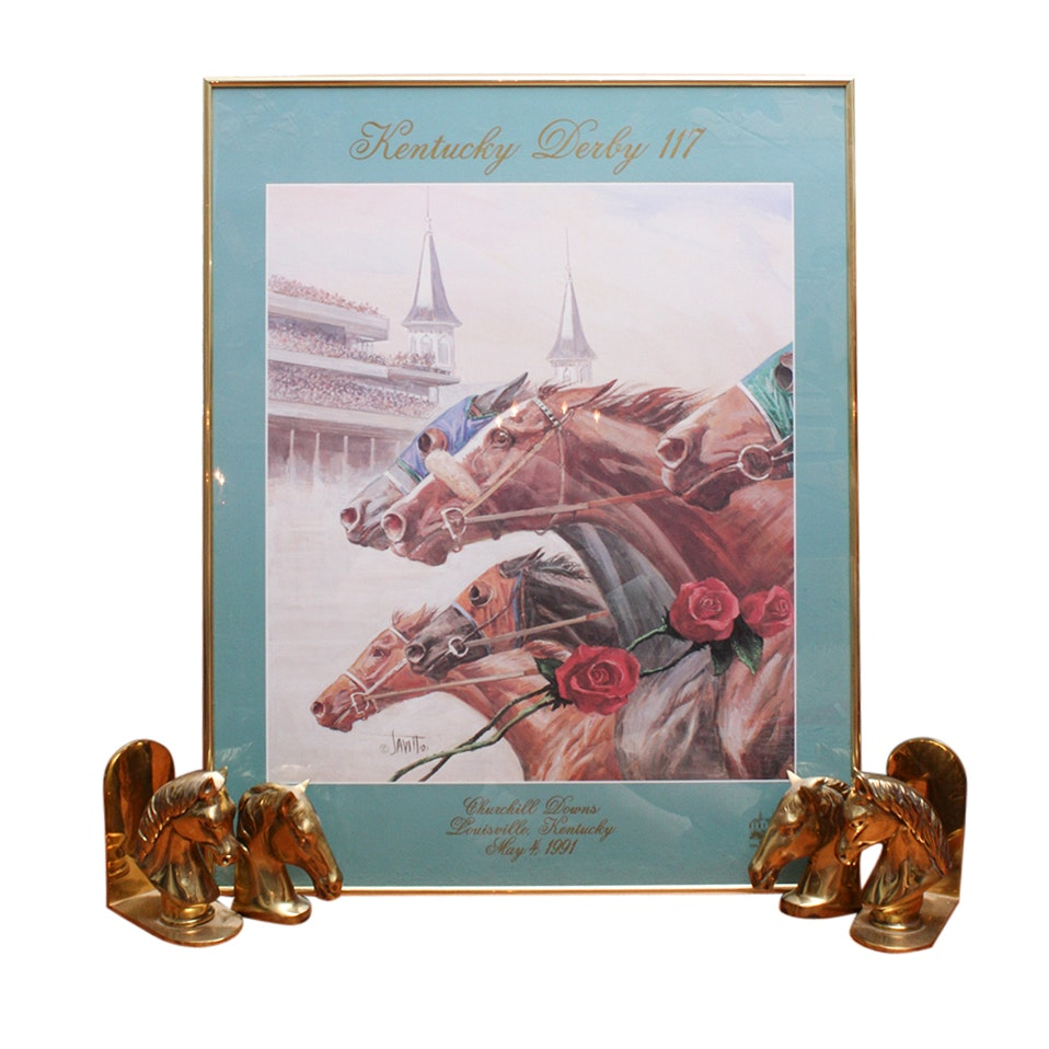 Vintage 1991 Kentucky Derby 117 Poster and Brass Horse Bookends