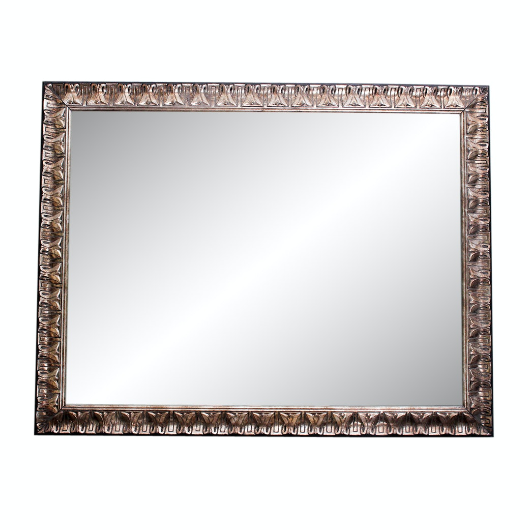 Contemporary Carved and Beveled Wall Mirror