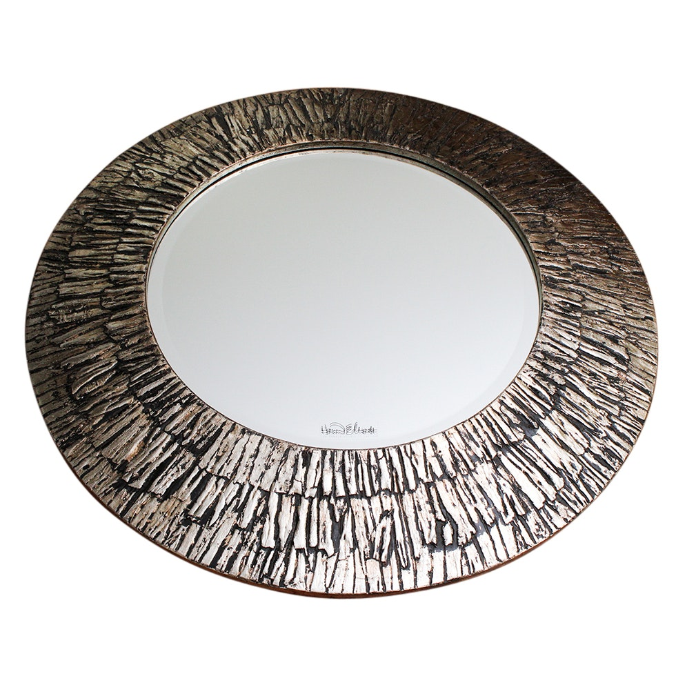 Contemporary Silver Tone Wall Mirror by Howard Elliott Collection
