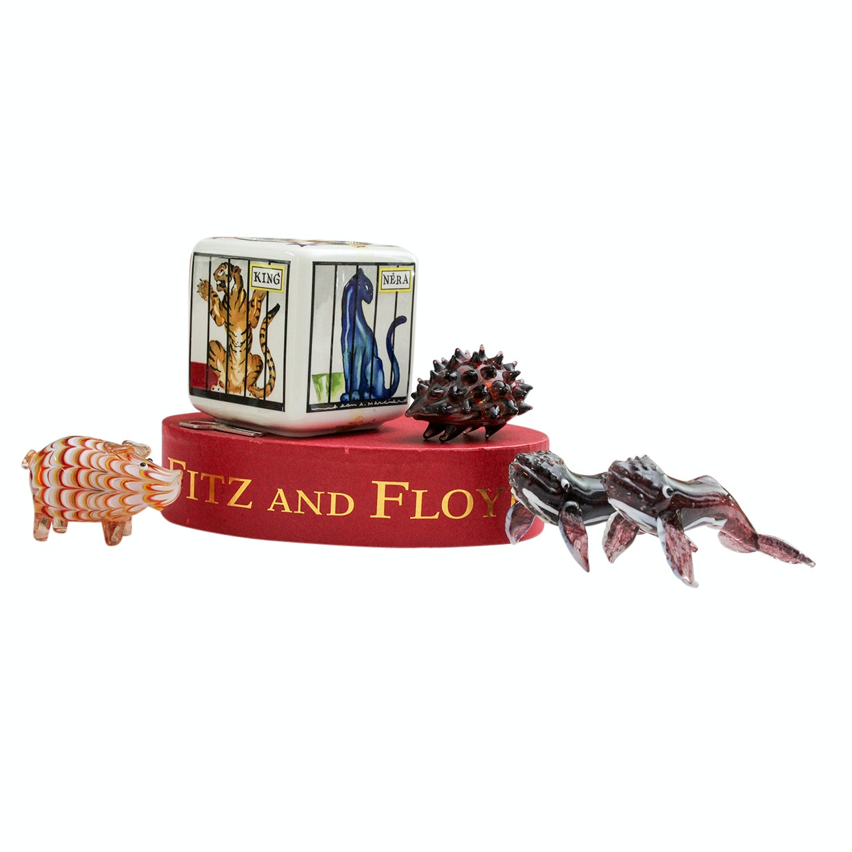 Fitz and Floyd Glass Menagerie Art Figurines and Villeroy & Boch Money Bank