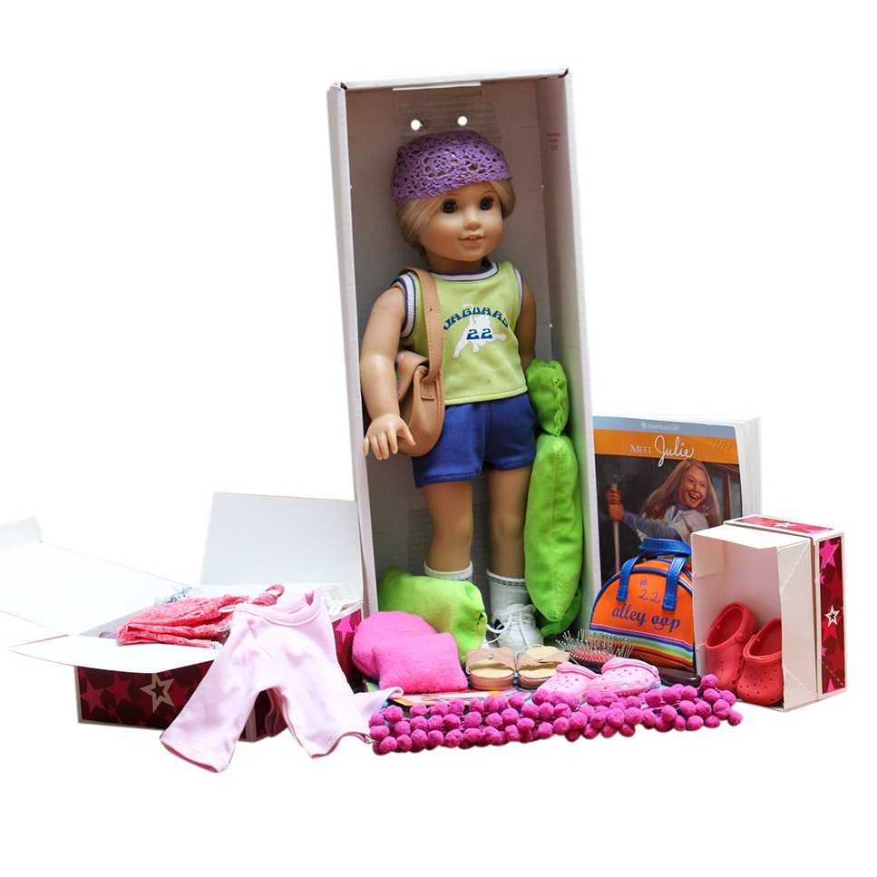 """American Girl """"Julie"""" Doll"""", Clothing and Handcrafted Wooden Bed"""