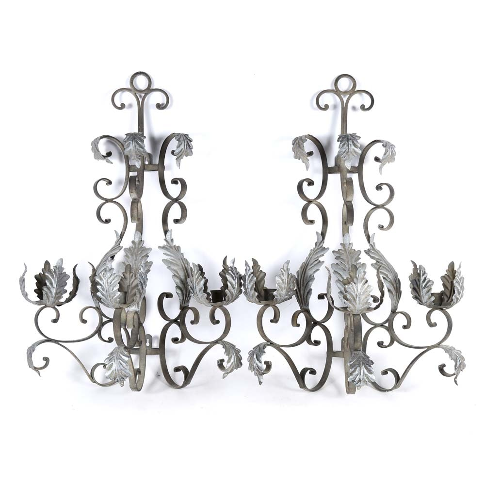 Contemporary Tole Candle Sconces