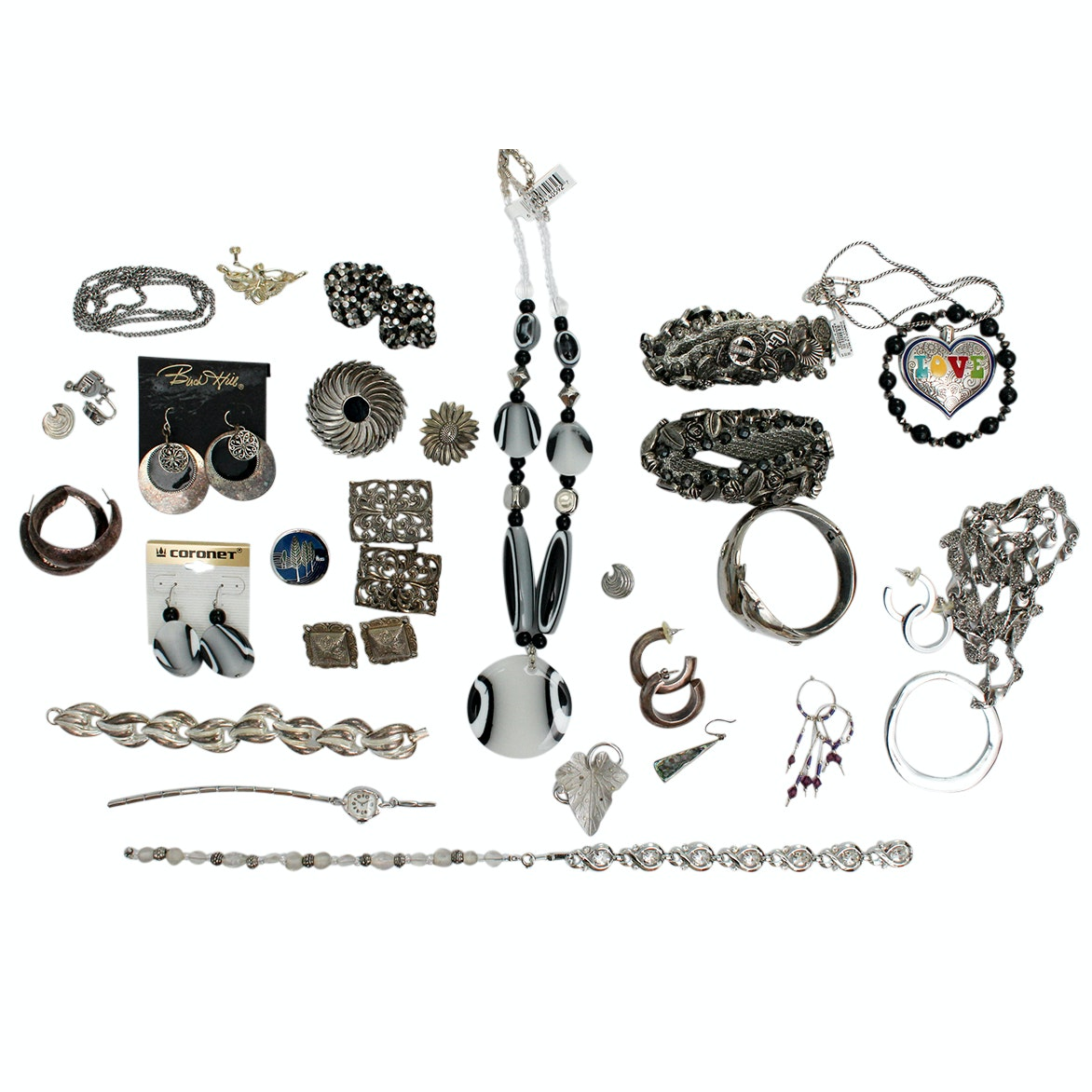 Assortment of Silver Tone Jewelry Including Brighton Heart Pendant Necklace