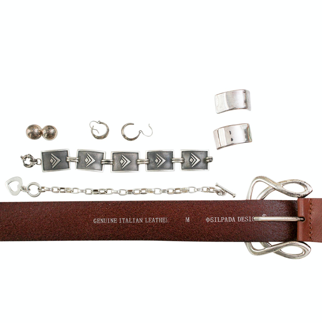 Sterling Silver Silpada Jewelry and Silpada Belt with Silver Tone Buckle