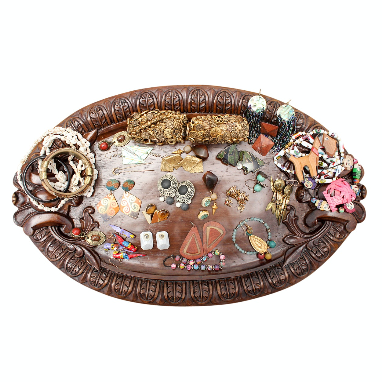 Vintage Wood and Beaded Jewelry and Carved Wood Display Tray