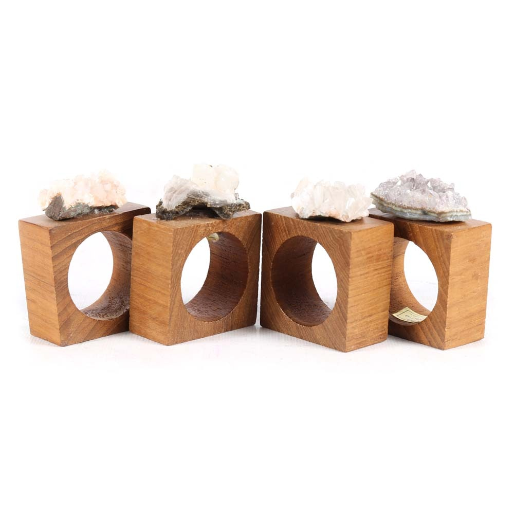 Kemp and Beatley Burma Teak Napkin Rings with Geode Accents