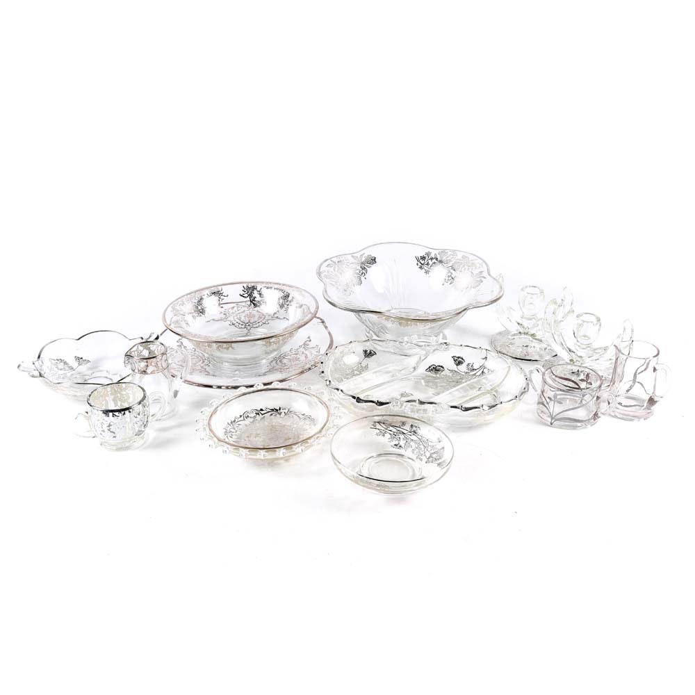 Collection of Glass Tableware with Silver Tone Overlay