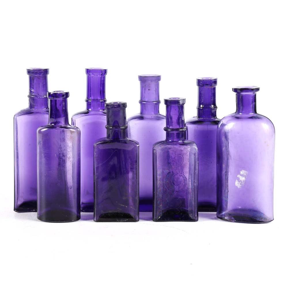 Vintage Amethyst Glass Medicine Bottles