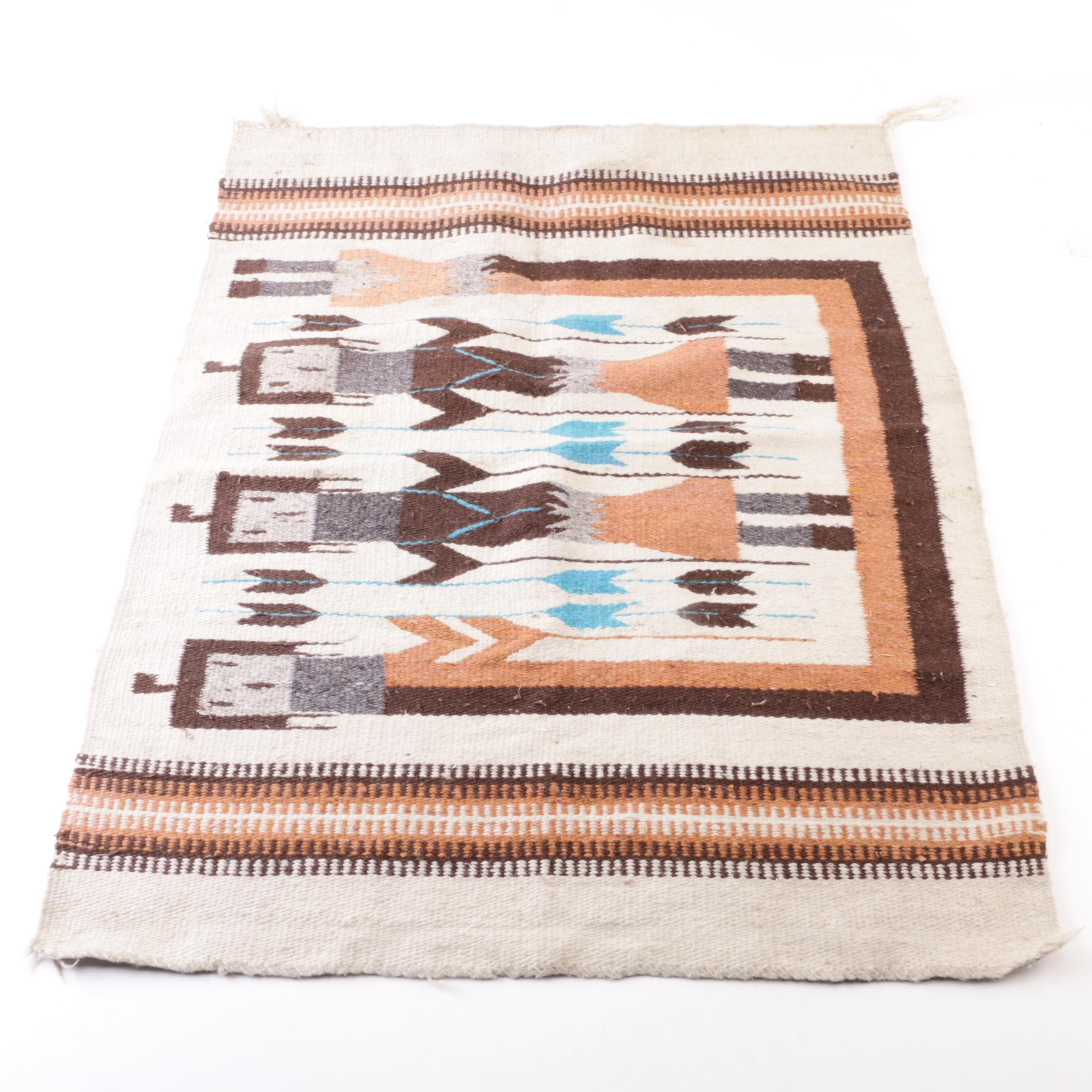"Handwoven Native American-Style ""Yei"" Wool Accent Rug"