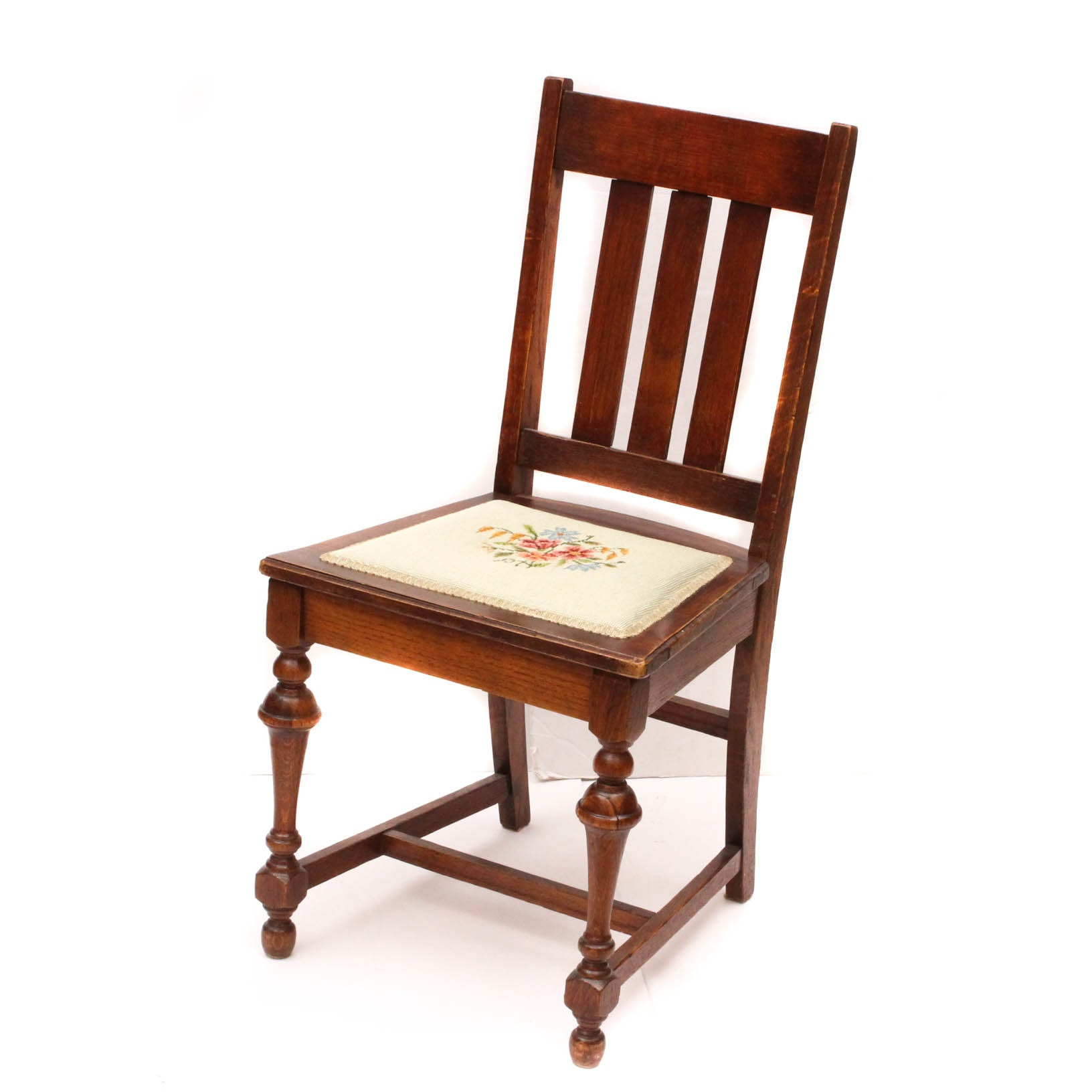 Vintage Oak Side Chair with Needlepoint Seat
