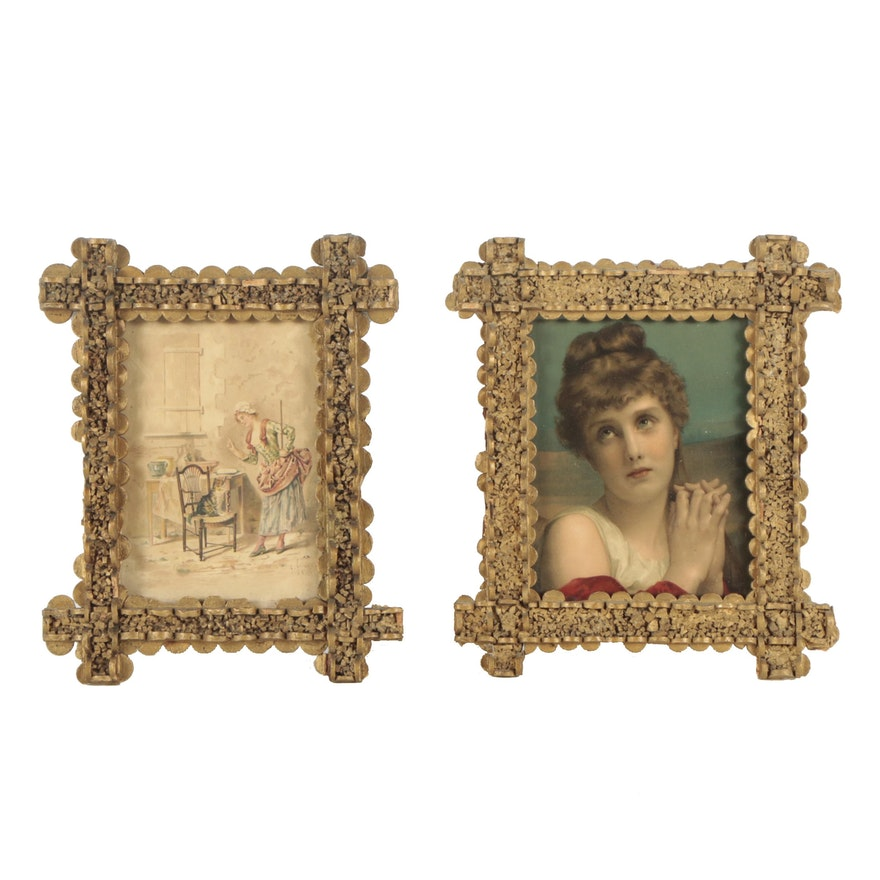 Two Chromolithograph Prints In Tramp Art Frames : EBTH