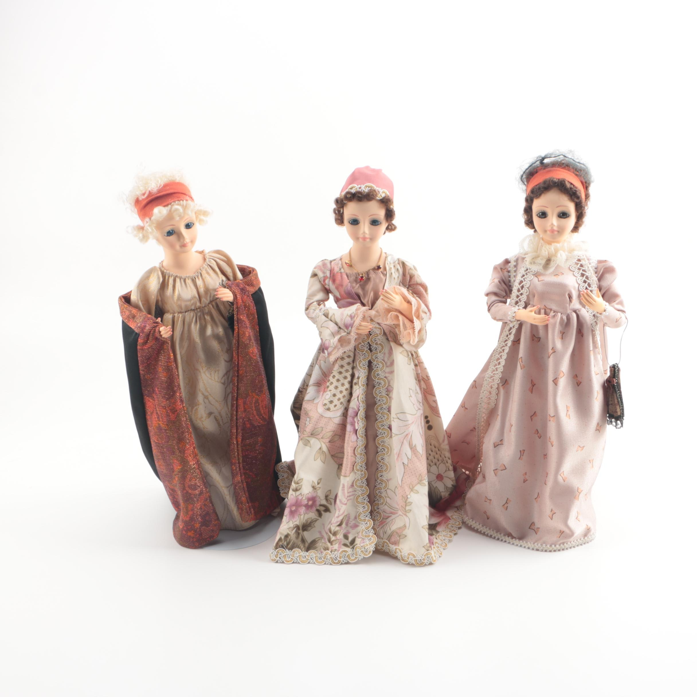 """1987 Brinn's """"First Lady Dolls"""" Including Adams, Madison and Jefferson"""