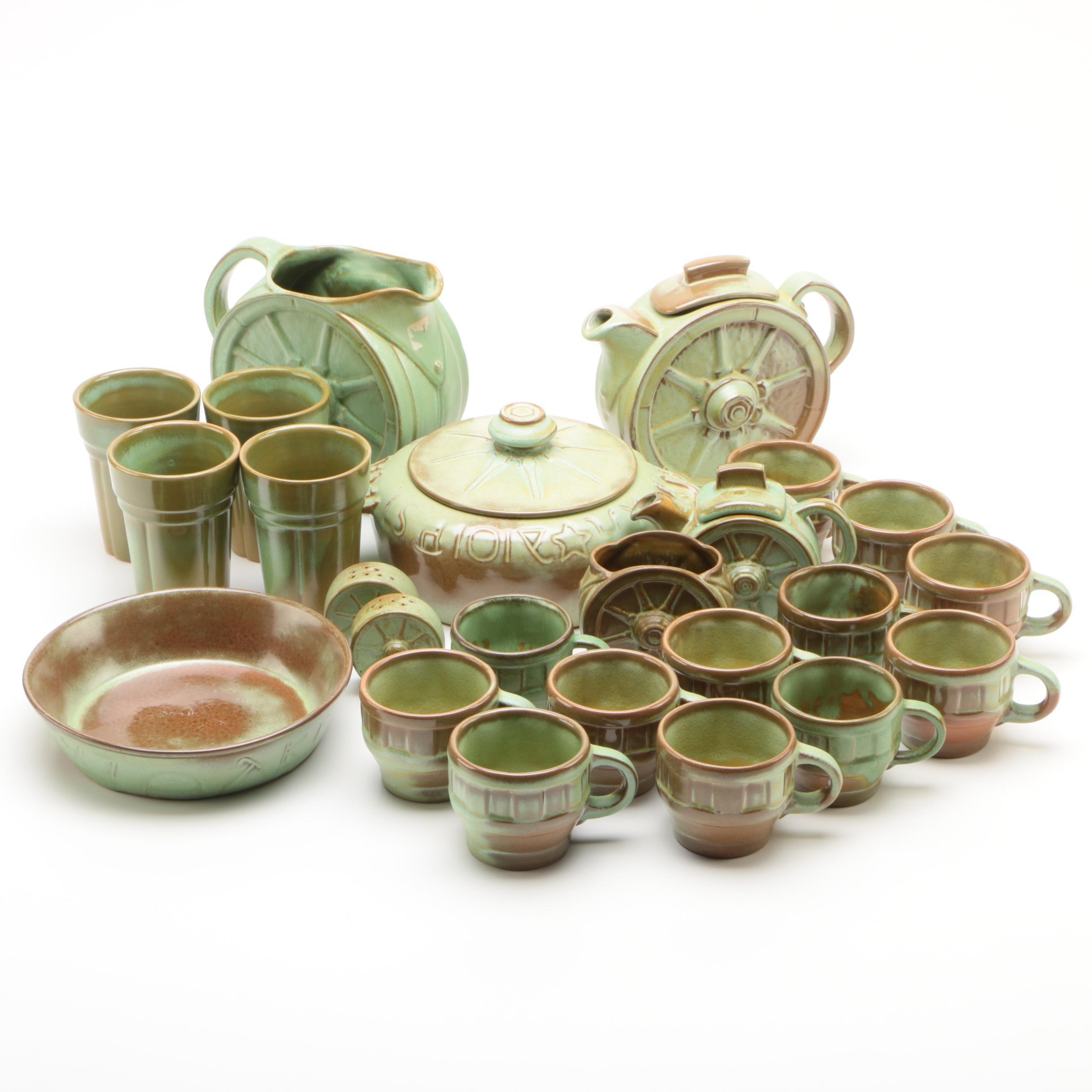 """Frankoma Pottery """"Wagon Wheel Prairie Green"""" Serveware"""