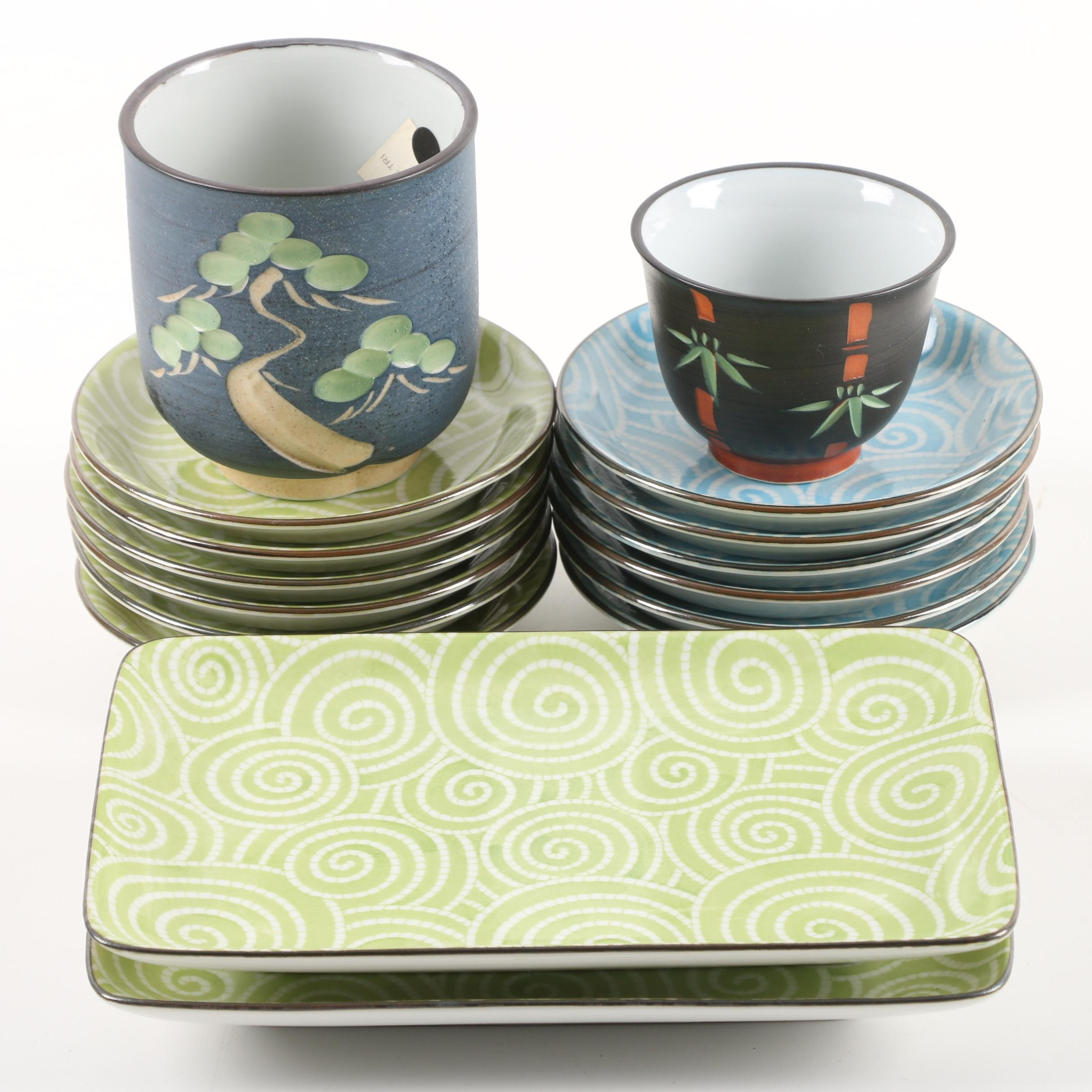 Kotobuki Ceramic Cups, Plates and Sushi Trays