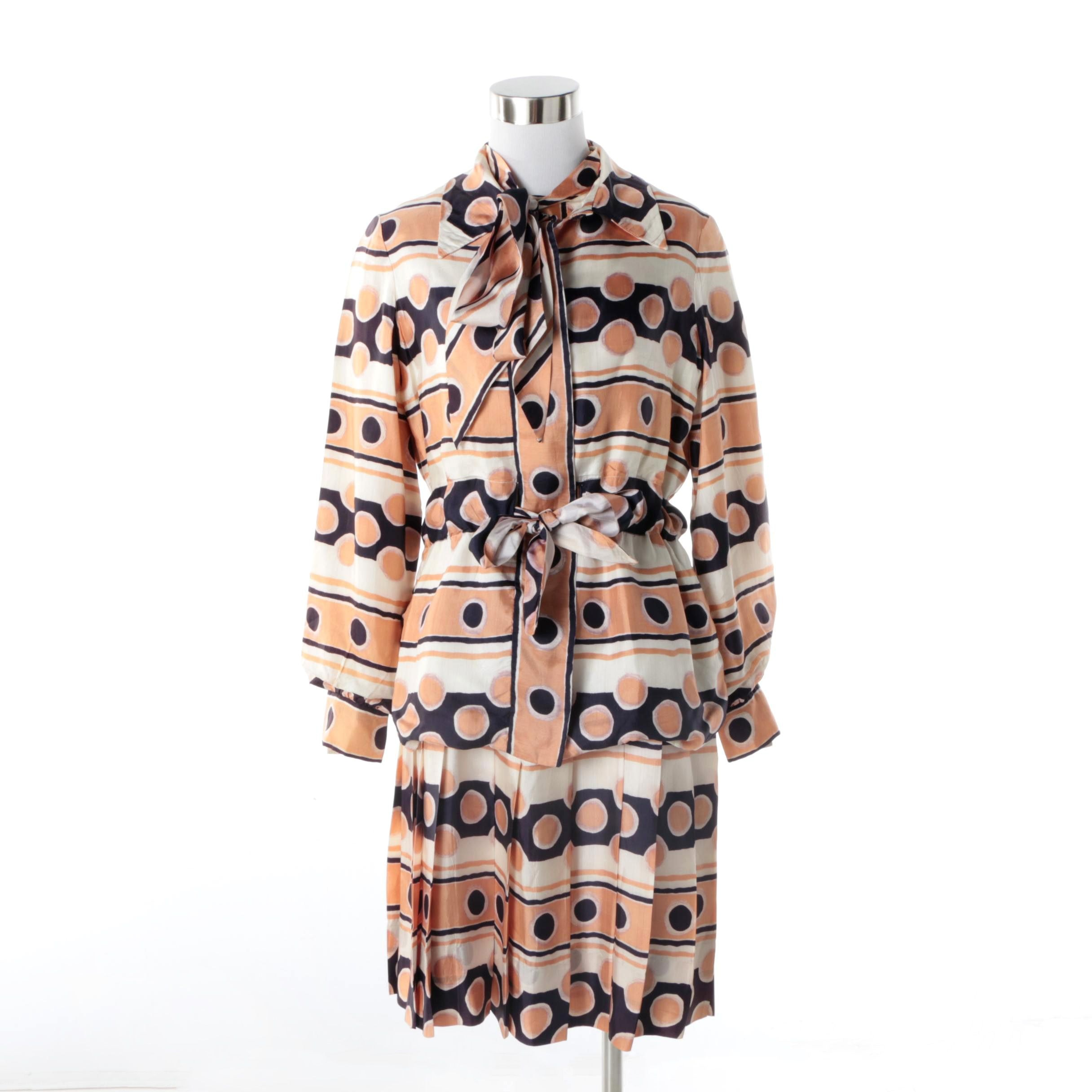 1970s Vintage Oscar de la Renta Mod Print Dress and Matching Jacket