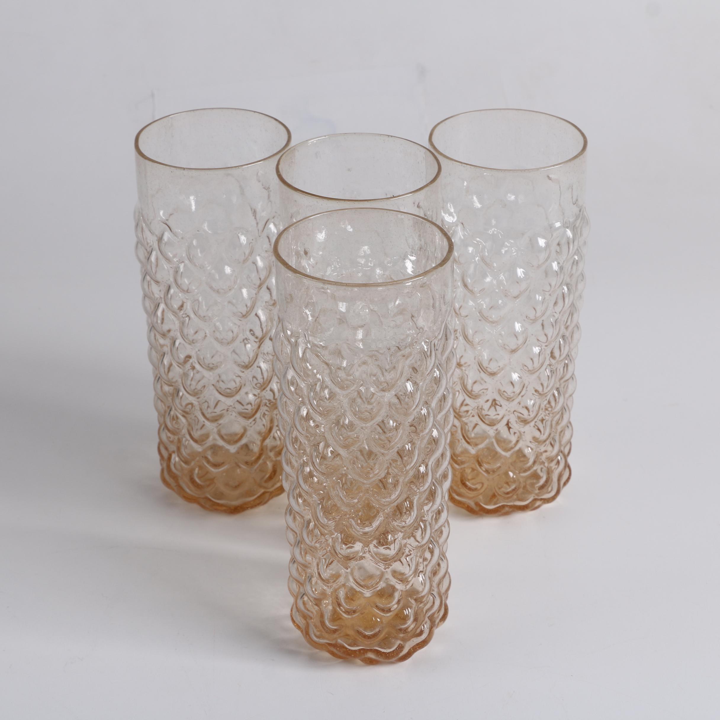 Vintage Pressed Glass Bubble Tumblers