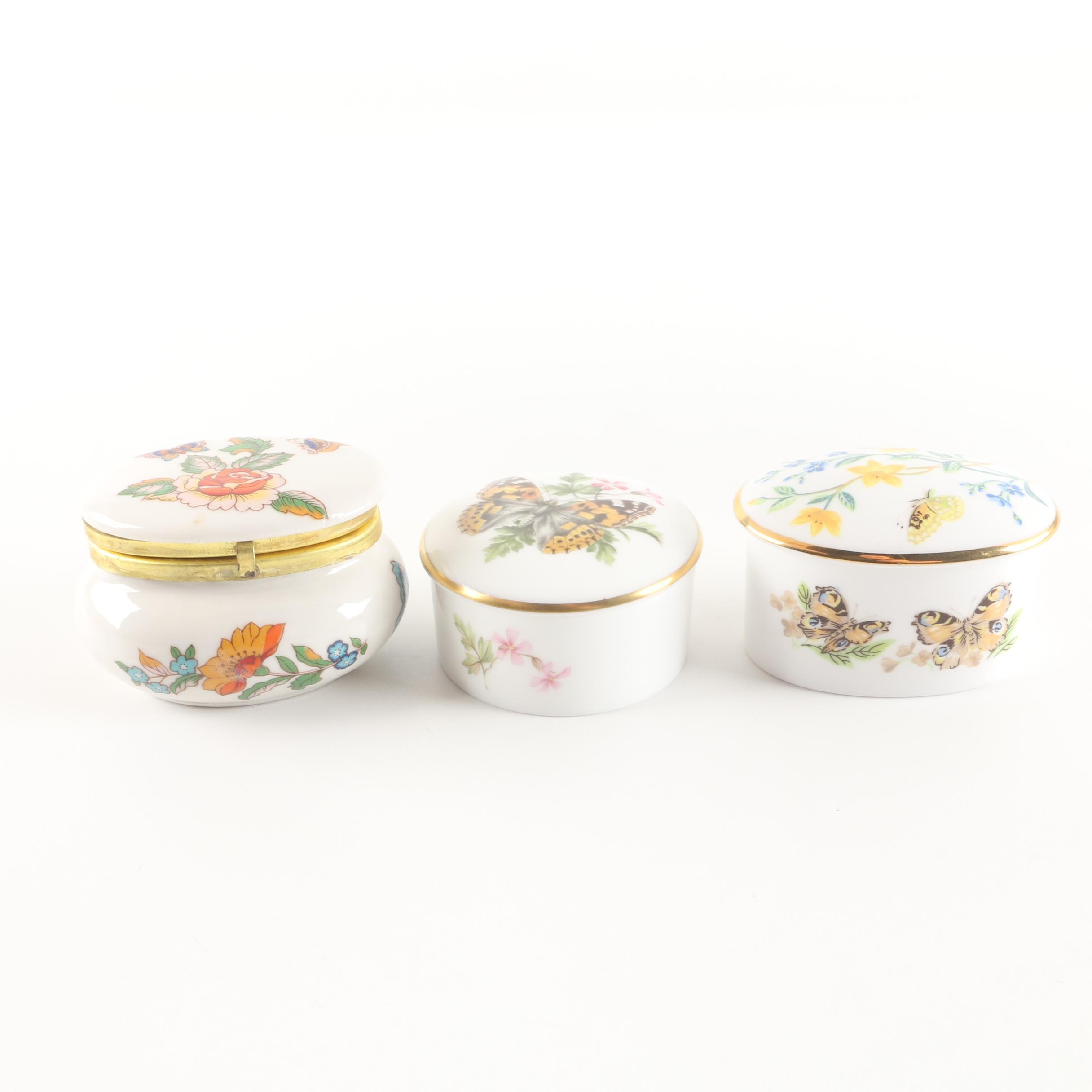 Porcelain Butterfly Themed Trinket Boxes Featuring Royal Worcester and More