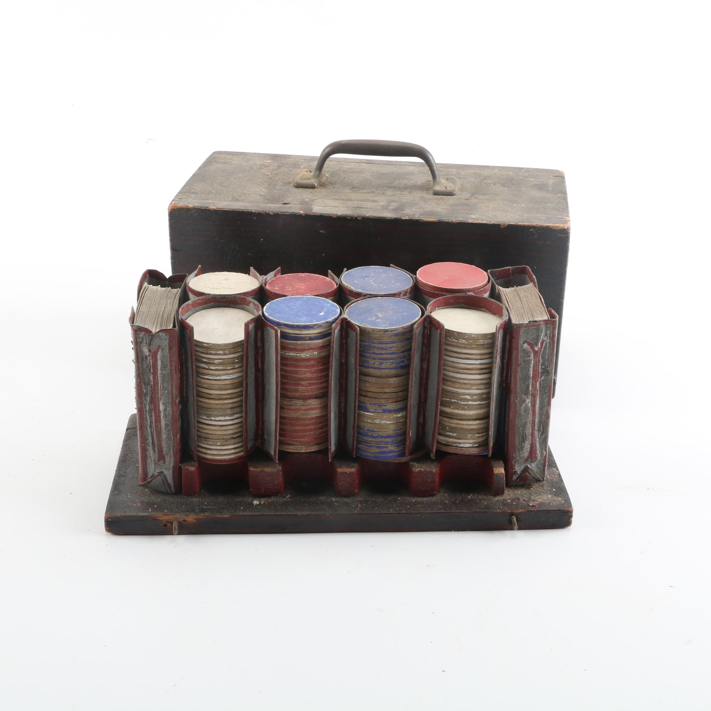 Antique Paper Poker Chips with Card Decks and Wooden Box