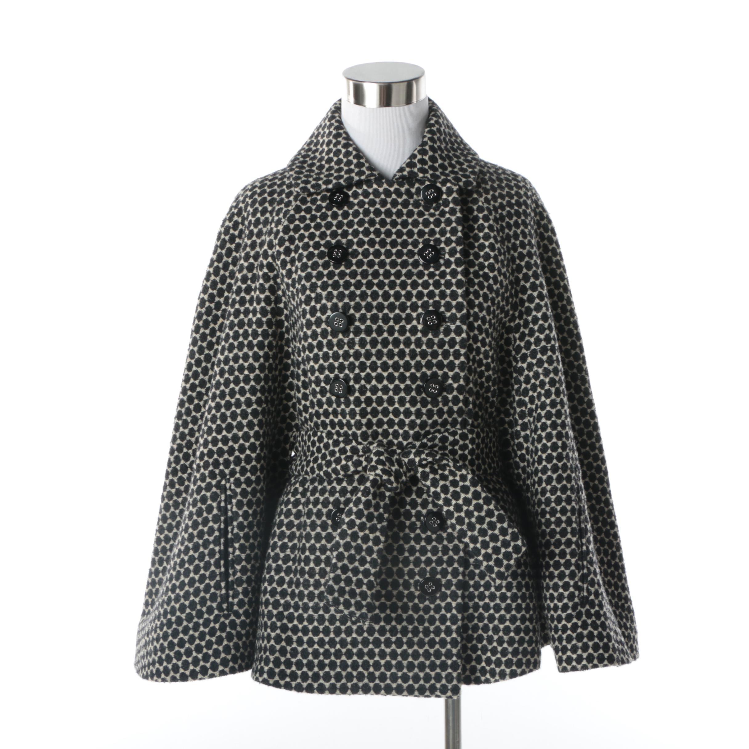 Women's Catherine Malandrino Black Dot Wool Blend Double-Breasted Cape