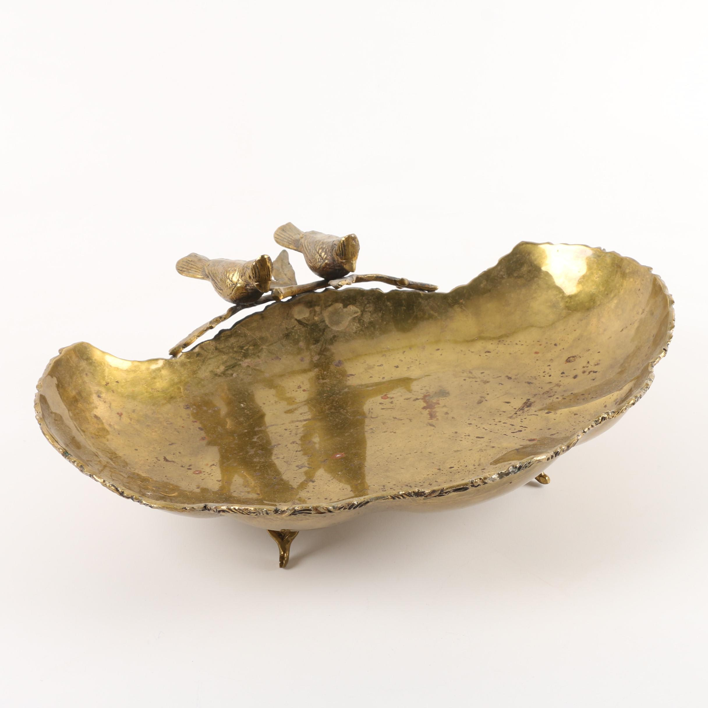 Footed Brass Bird Bowl