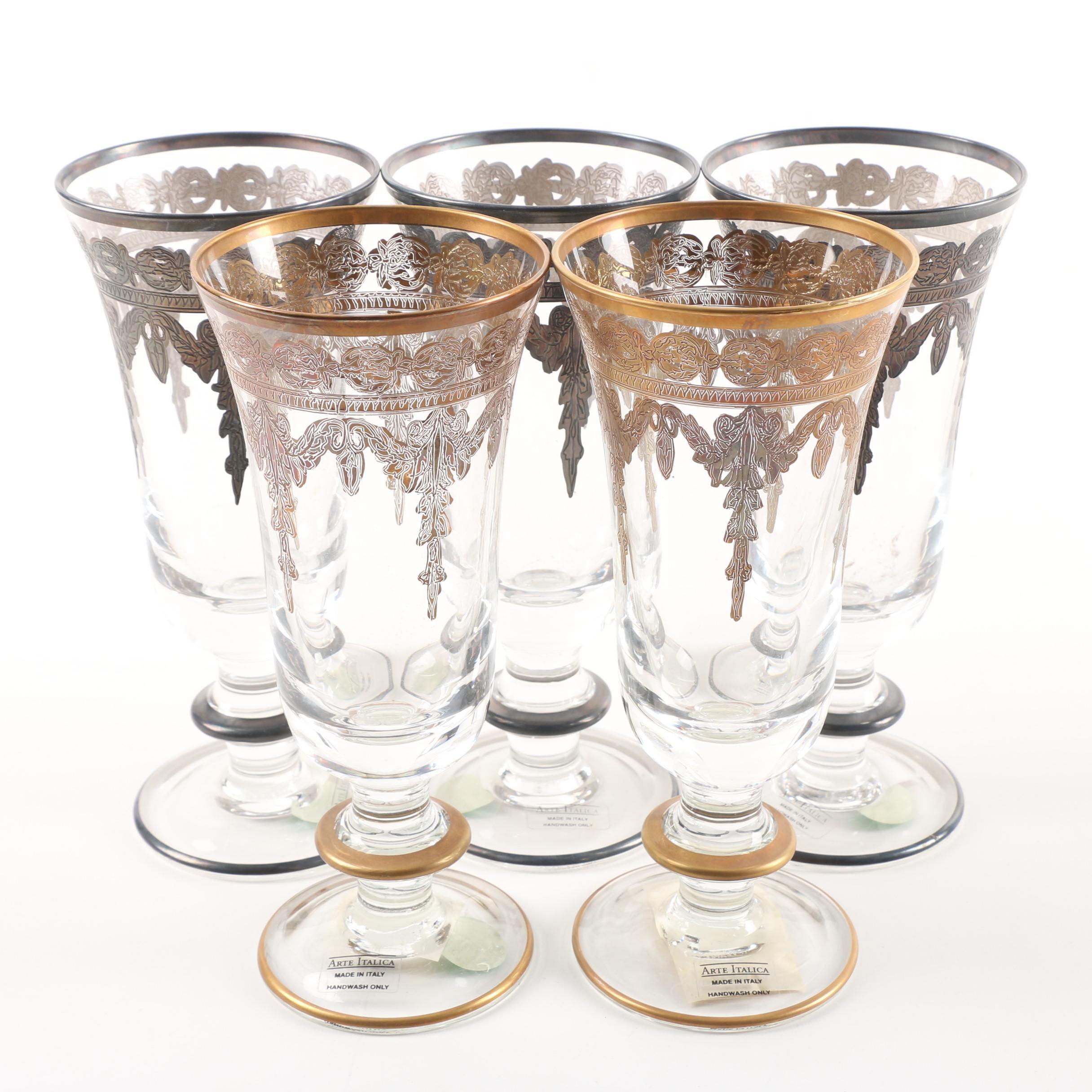 """Arte Italica """"Vetro Gold"""" Champagne Flutes"""